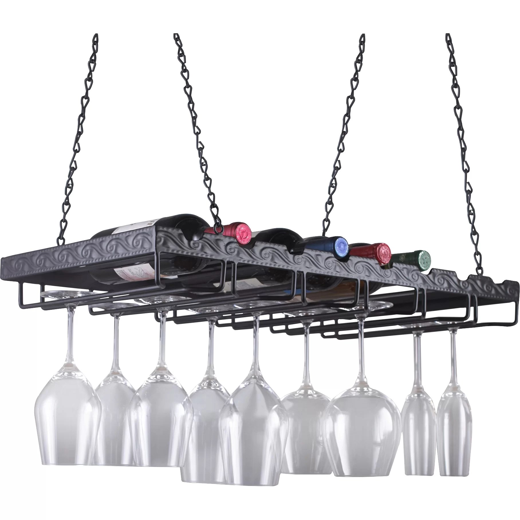 Hanging Bottle Rack Wine Enthusiast Companies 8 Bottle Hanging Wine Rack