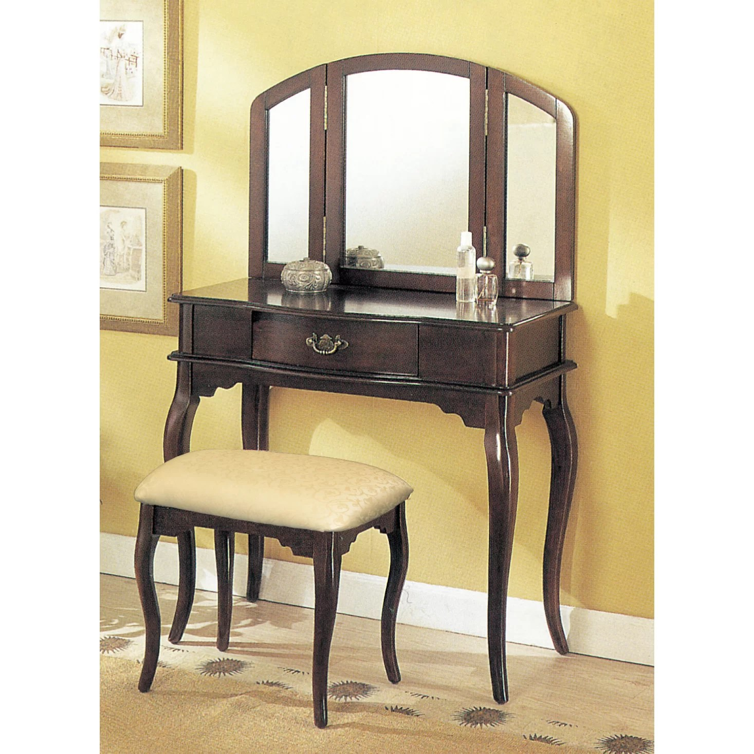 3 Piece Vanity Mirror Charlton Home Livingston 3 Piece Vanity Set With Trifold