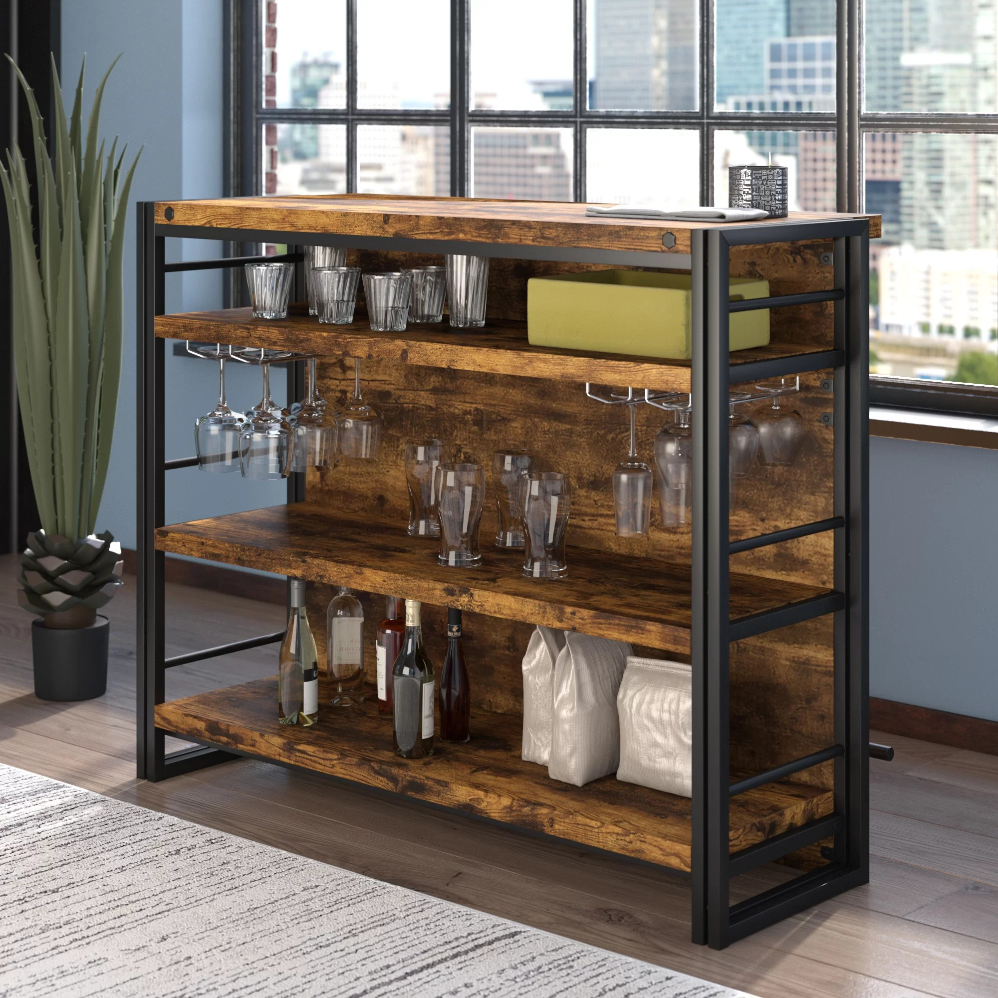 Barschrank Industrial Felicita Bar With Wine Storage