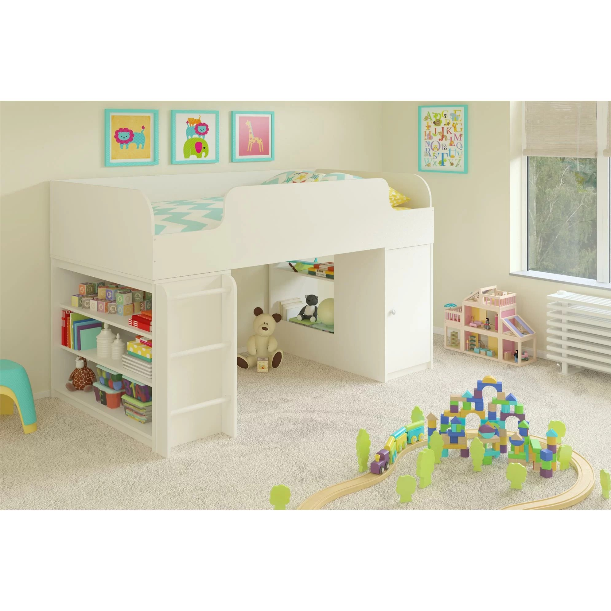 Viv Rae June Twin Panel Bed With Toy Box And Bookcase