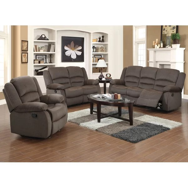 Red Barrel Studio Maxine 3 Piece Living Room Set \ Reviews Wayfair - living room sets with recliners