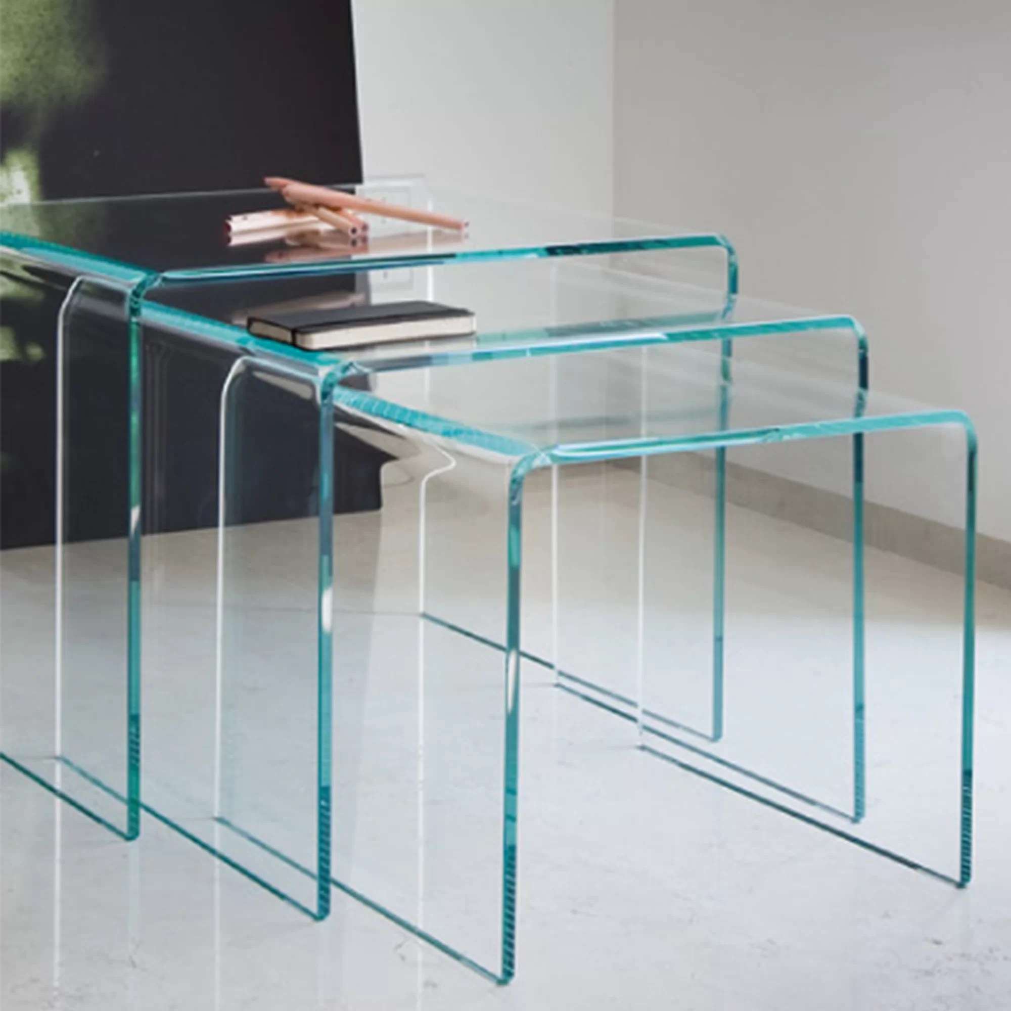 Glass Nesting Tables 3 Piece Nesting Tables