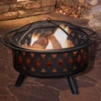 Pure Garden Crossweave Steel Wood Burning Fire Pit ...