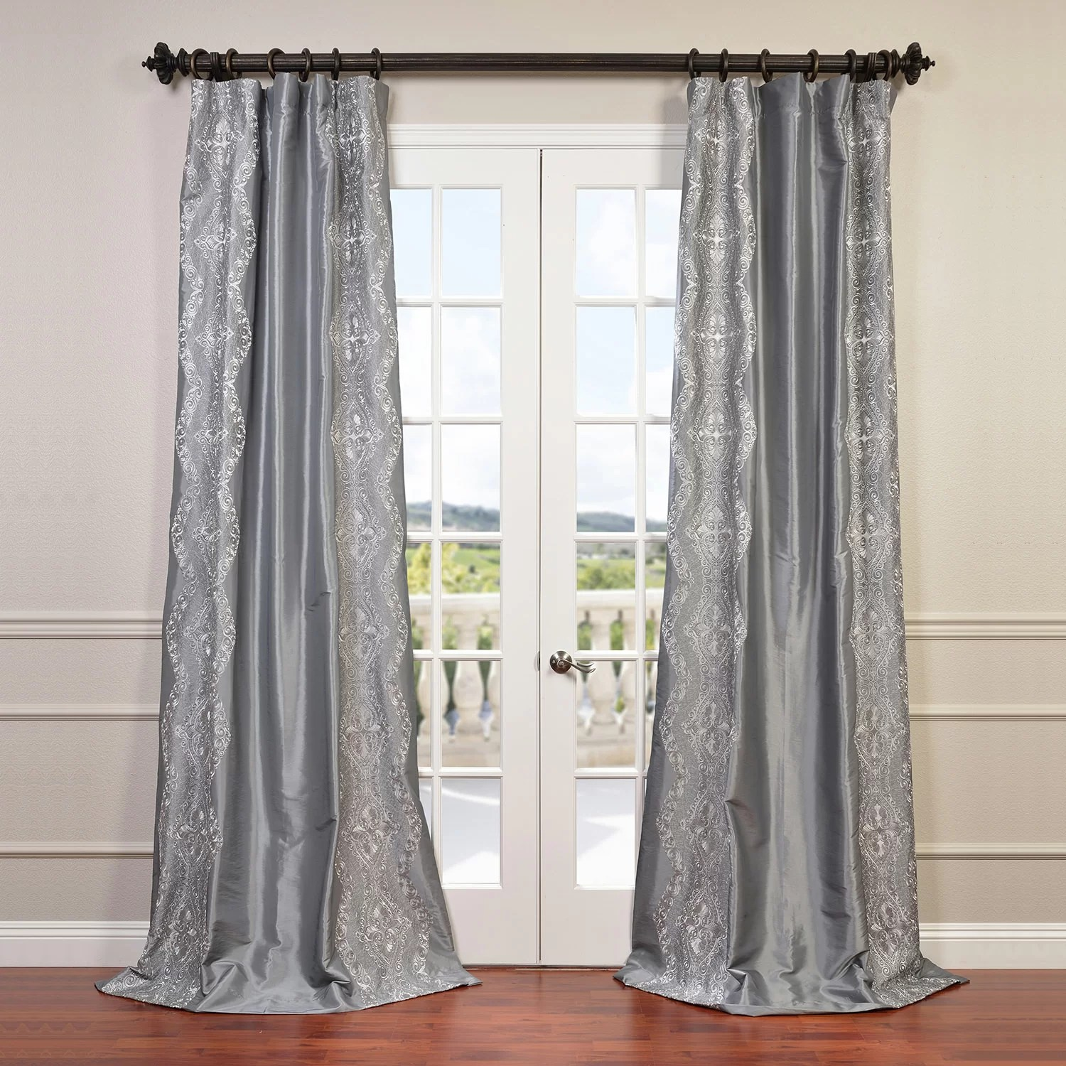 Faux Silk Curtains Chai Embroidered Faux Silk Rod Pocket Single Curtain Panel