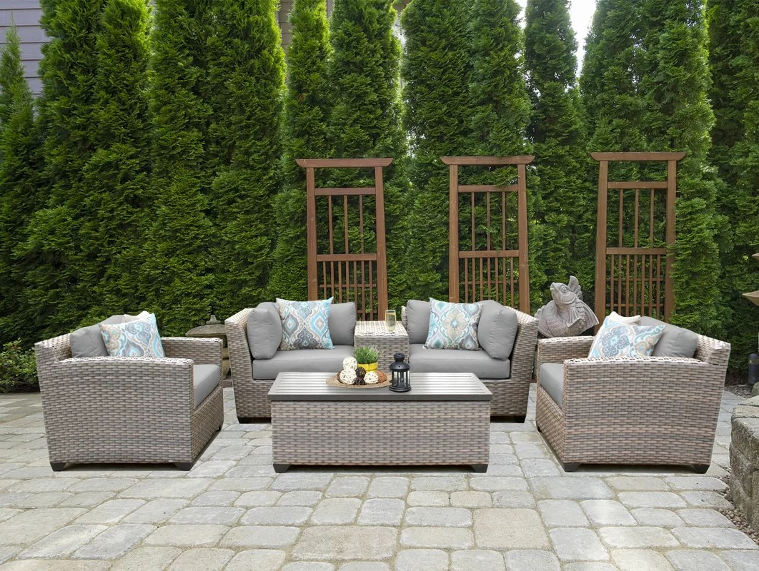 Florence 8 Piece Rattan Sofa Set With Cushions Tk Classics Florence 6 Piece Rattan Sofa Set With Cushions