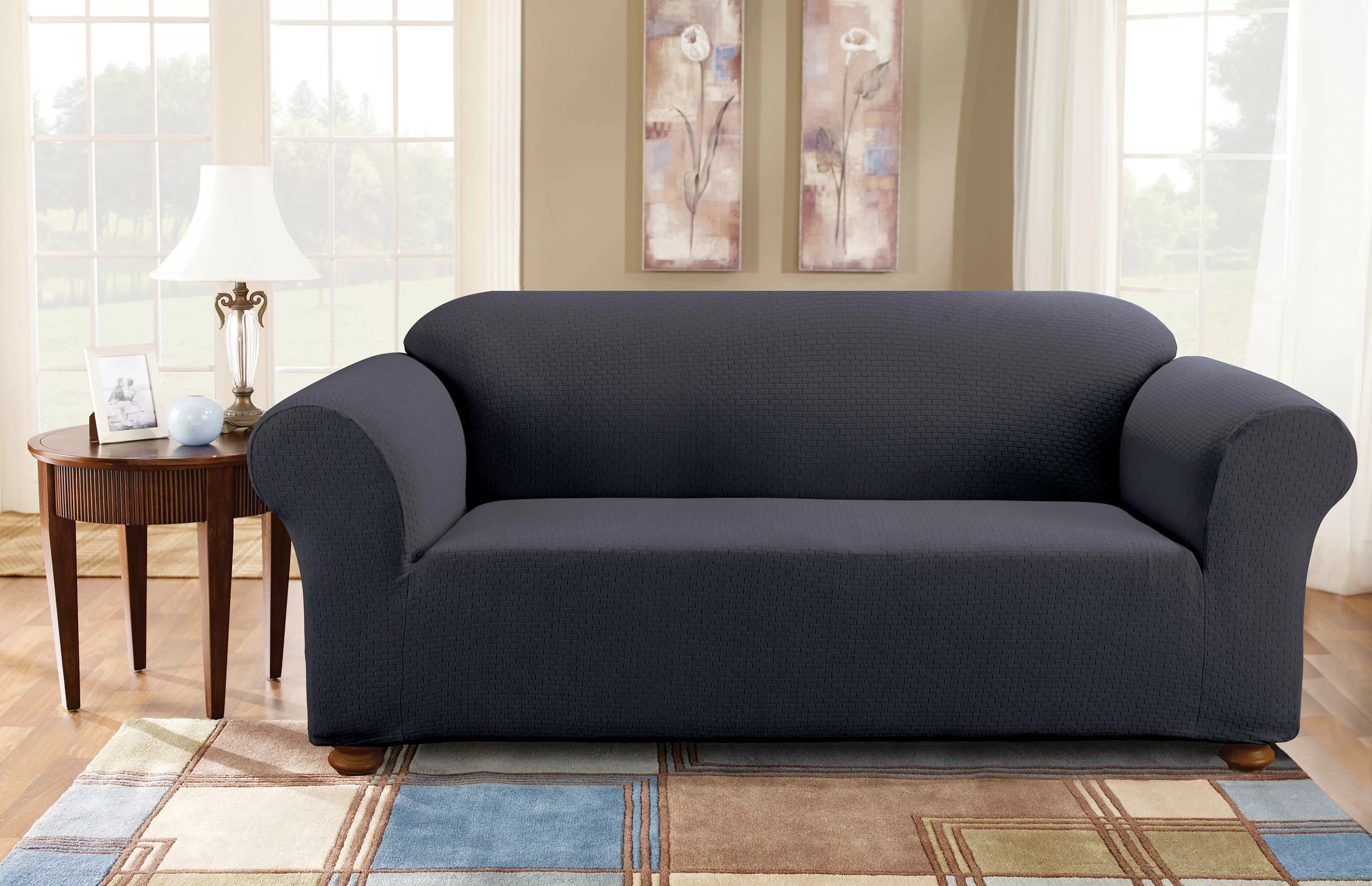 Fitted Slipcovers Couches Simple Stretch Subway Box Cushion Sofa Slipcover