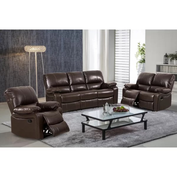 Living In Style Layla 3 Piece Leather Living Room Set \ Reviews - 3 piece living room furniture set