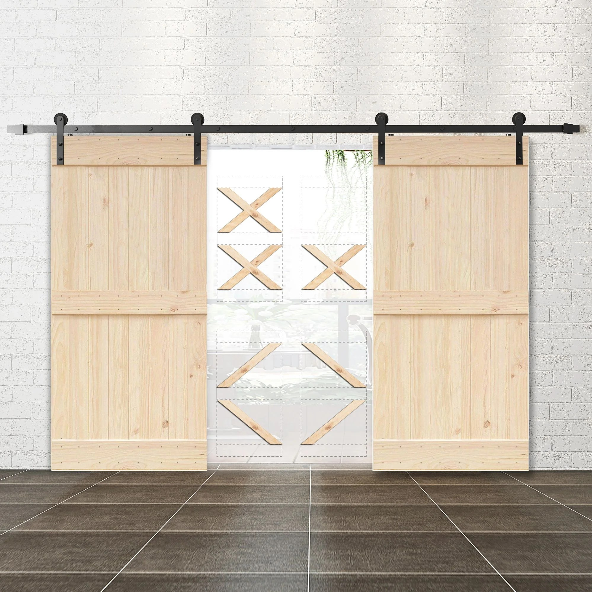 Homacer Paneled Wood Unfinished Frameless Barn Door With Installation Hardware Kit Reviews Wayfair