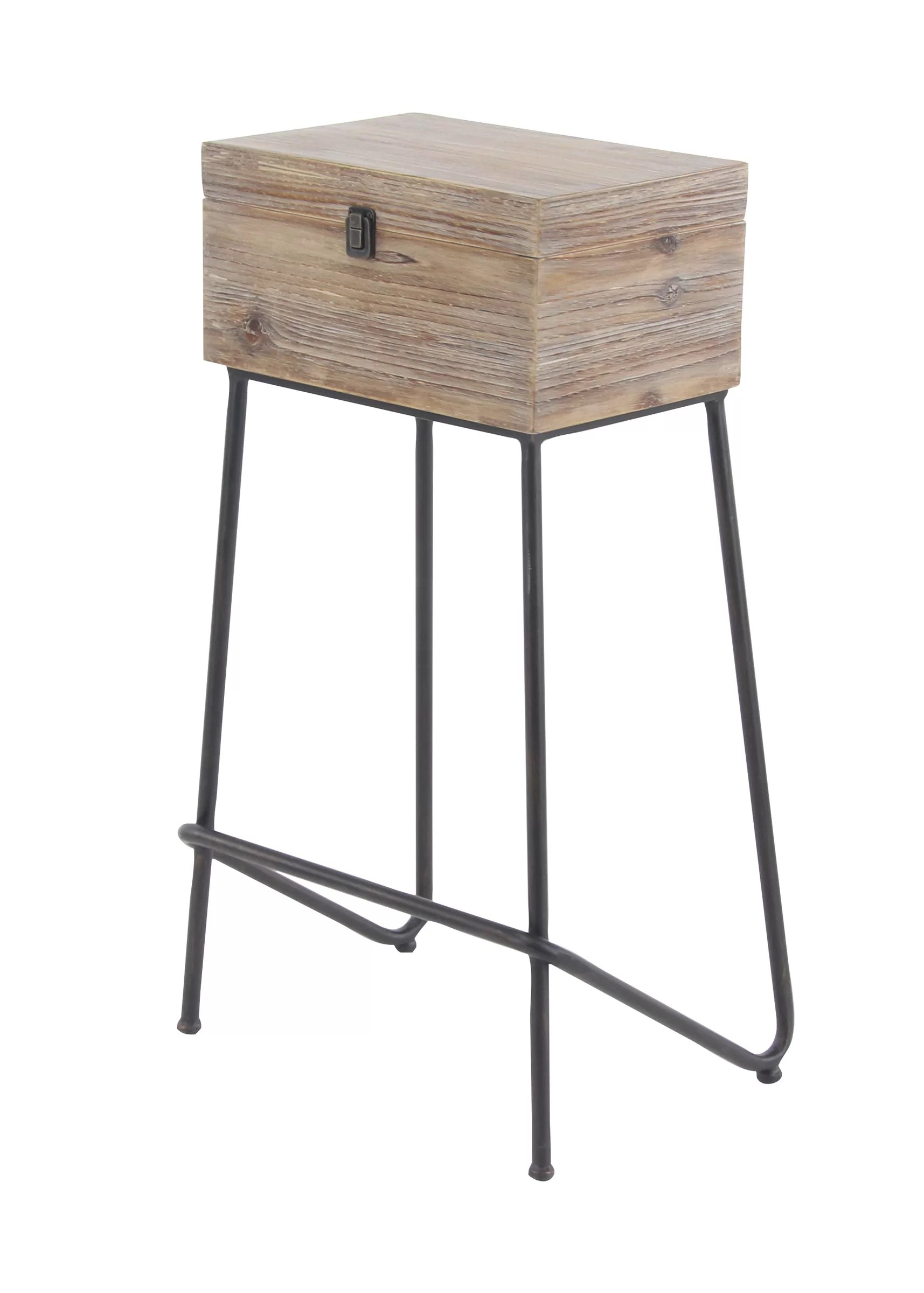 Rustic Wood End Table Kail Rustic Wood Box End Table