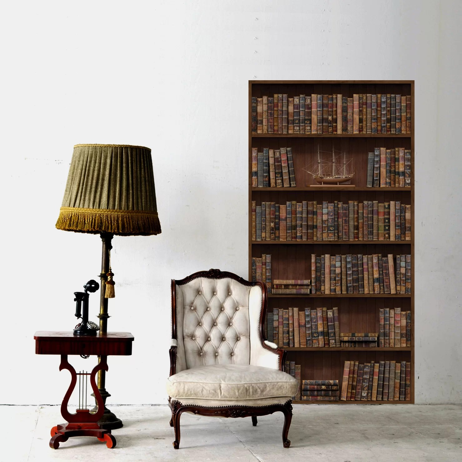 Vintage Bookcase Vintage Bookshelf Wall Decal