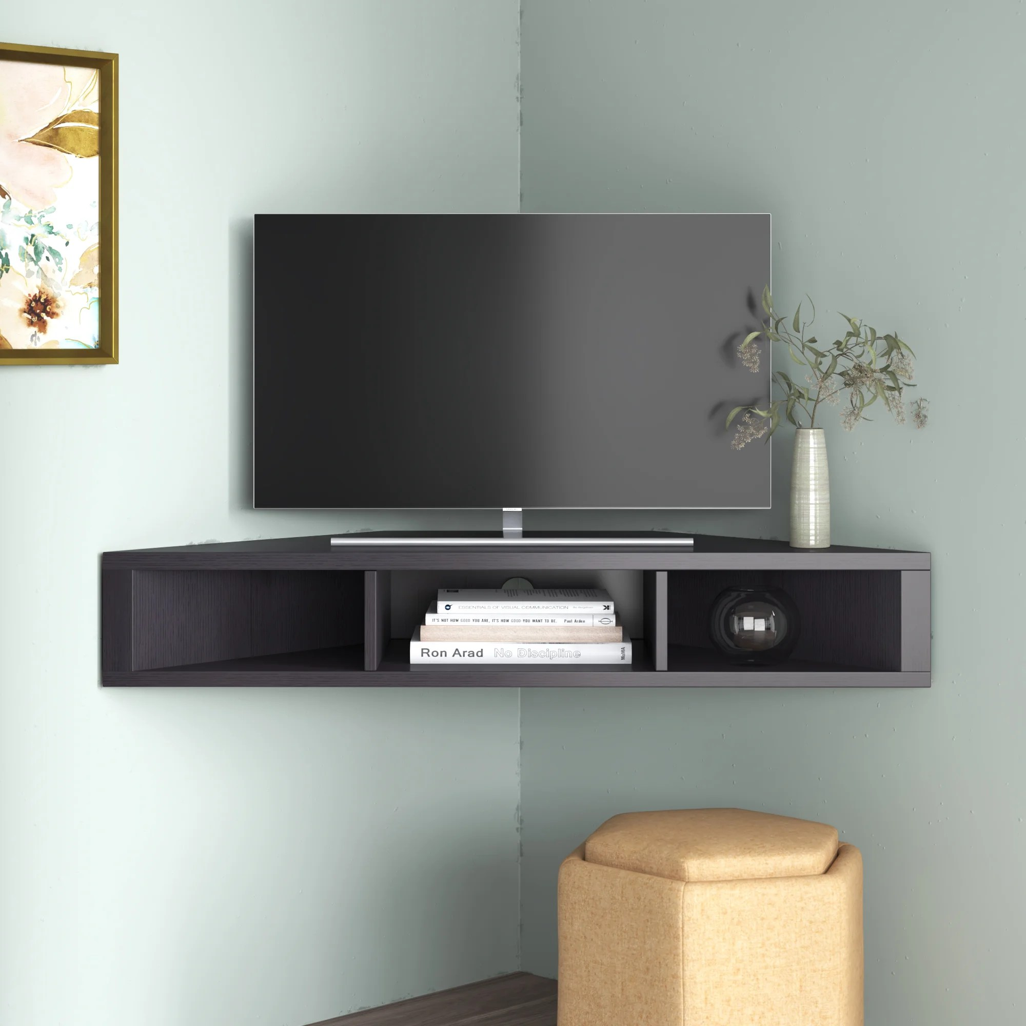 Ebern Designs French Floating Corner Tv Stand For Tvs Up To 50
