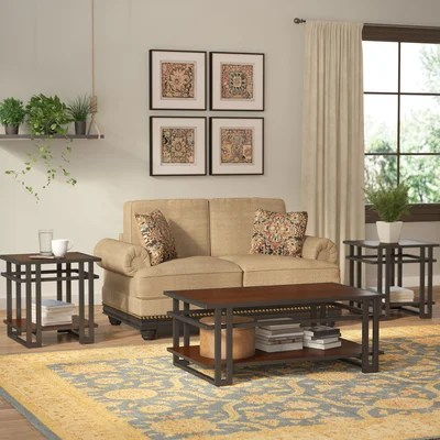 World Menagerie Amskroud 3 Piece Coffee Table Set \ Reviews Wayfair - 3 piece living room table set