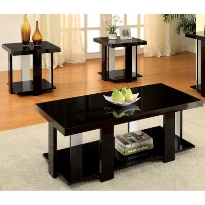 Wade Logan Dunlevy 3 Piece Coffee Table Set \ Reviews Wayfair - 3 piece living room table set