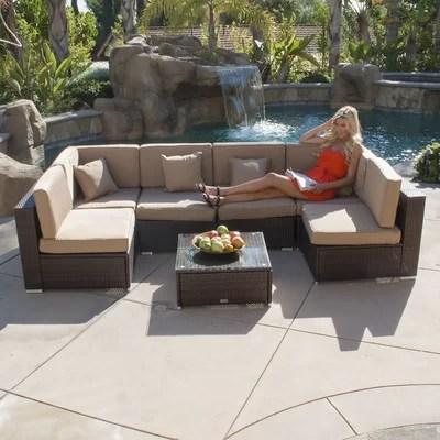 Belleze 7 Piece Deep Seating Group with Cushion \ Reviews Wayfair - 7 piece living room set