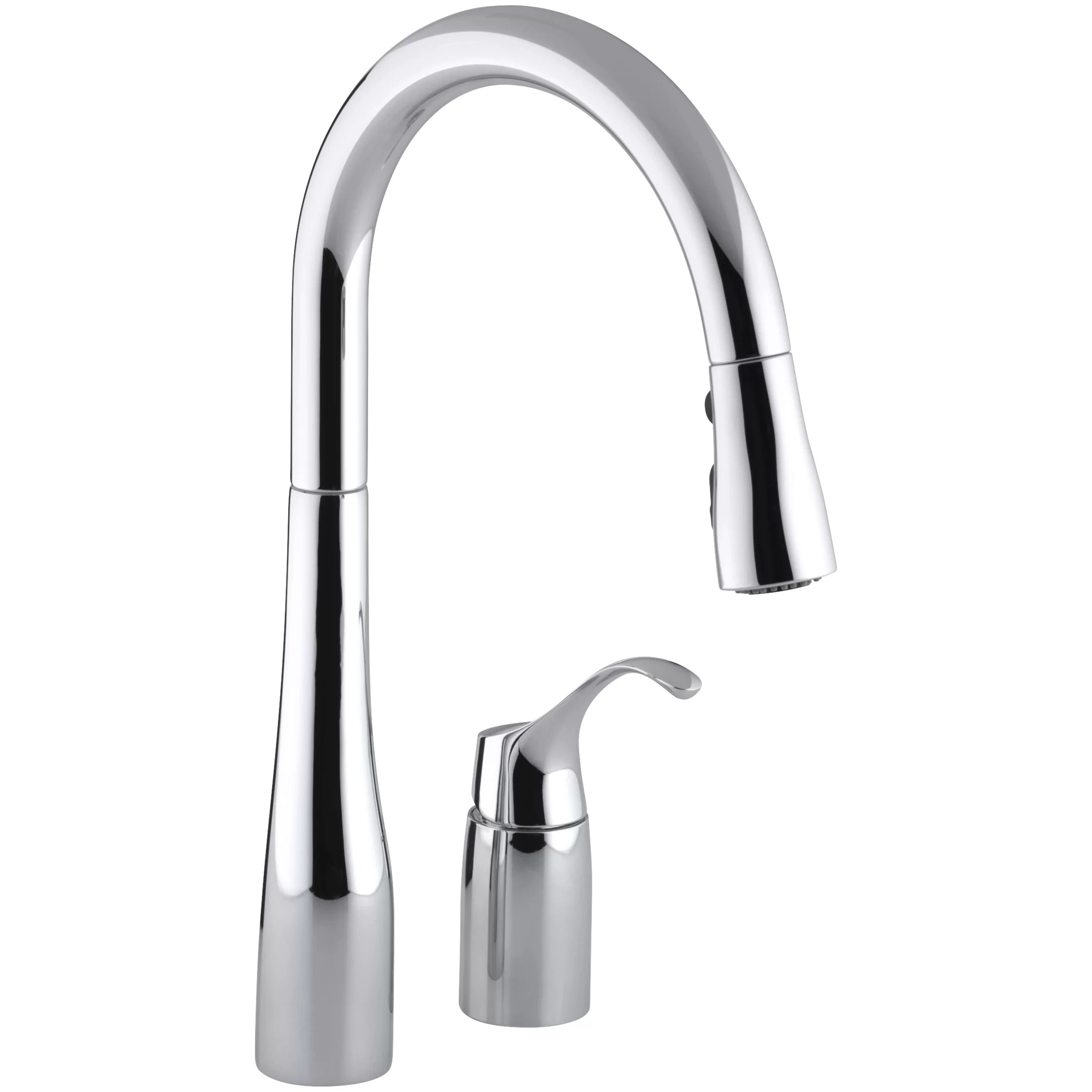 Kohler Simplice Two Hole Kitchen Sink Faucet with 16 1 8 Pull Down Swing Spout Docknetik Magnetic Docking System and A 3 Function Sprayhead Featuring The New Sweep Spray
