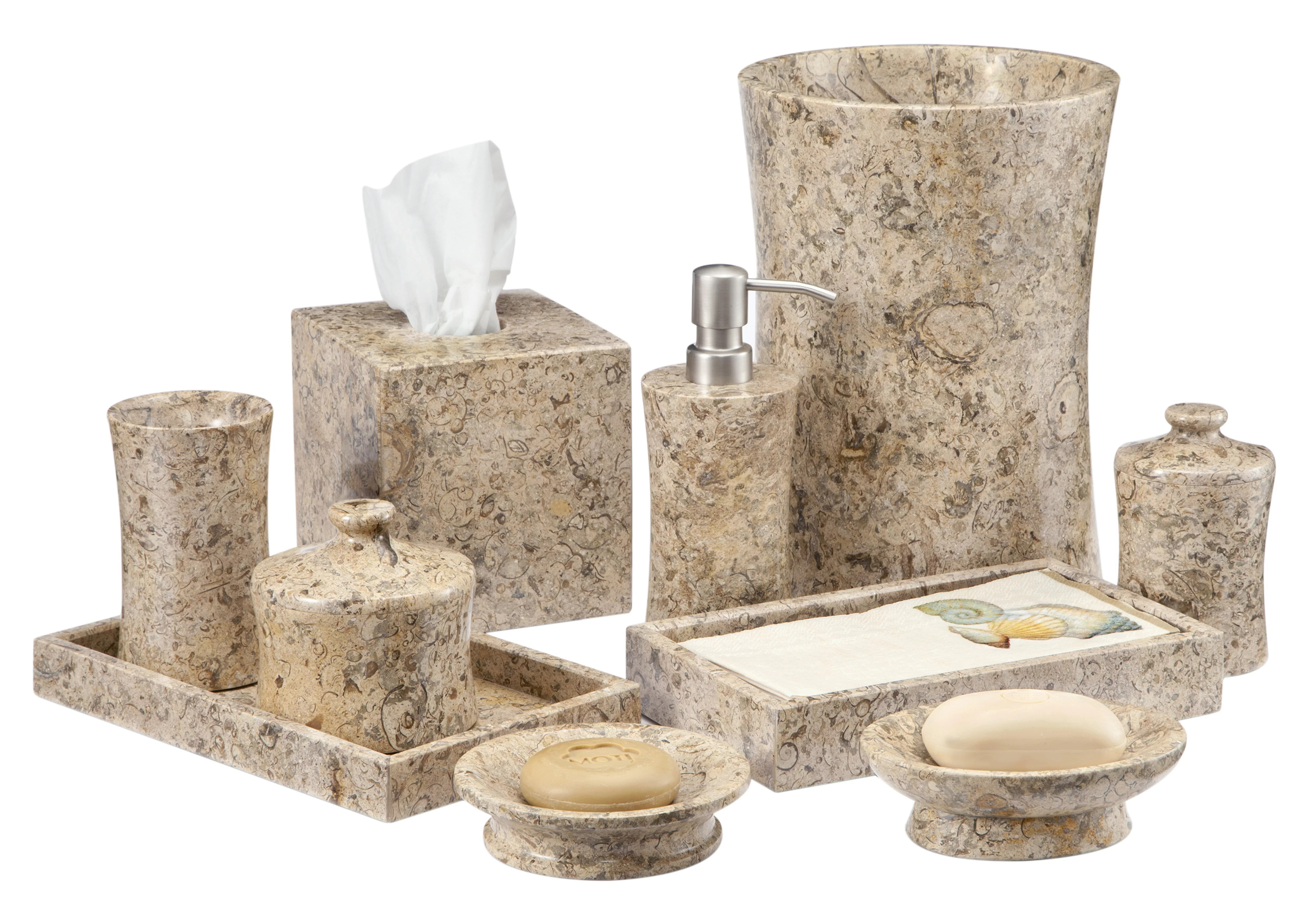 Bathroom Accessories Edinburgh Fossil Stone 10 Piece Bathroom Accessories Set