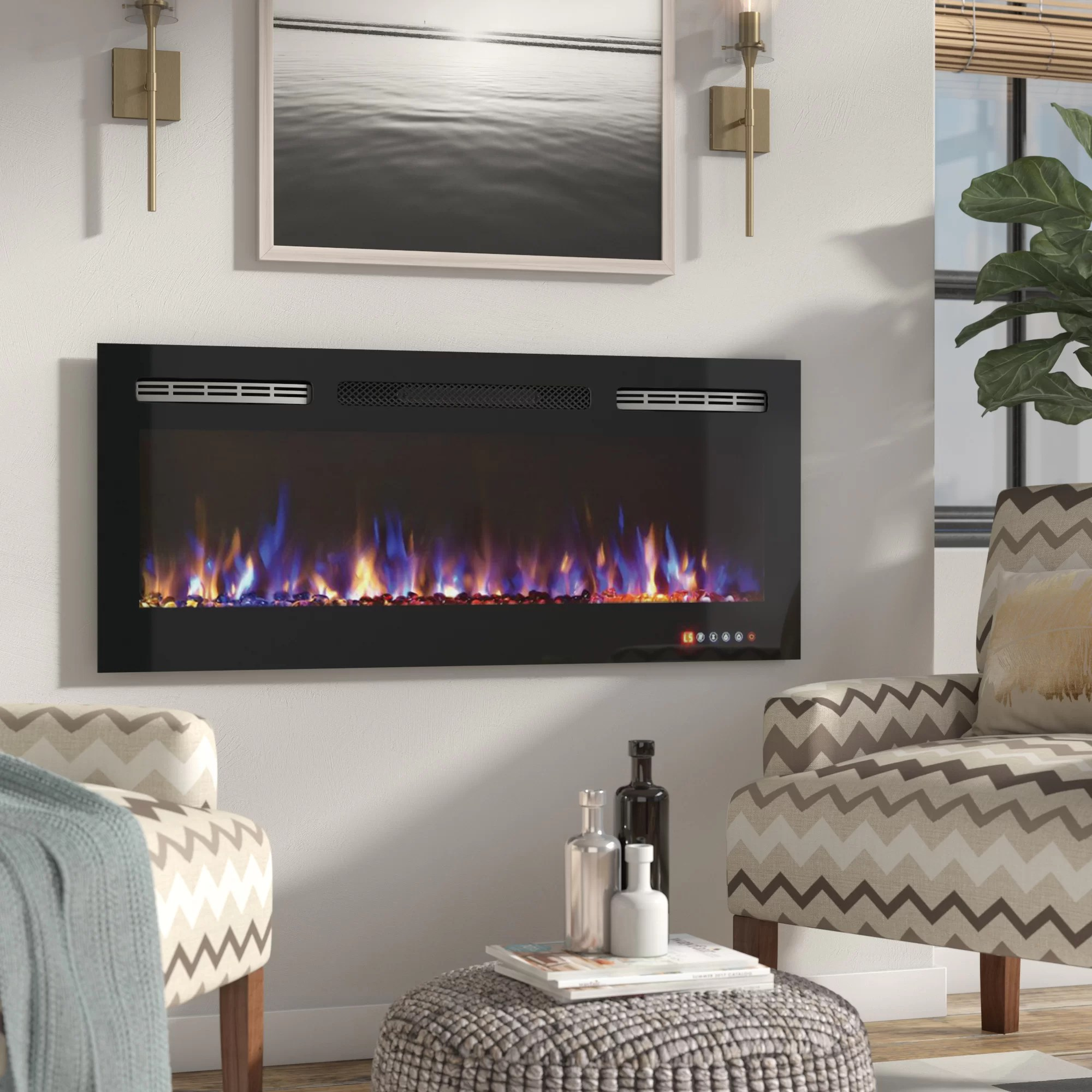 Living Room Electric Fireplace Demotte Wall Mounted Electric Fireplace