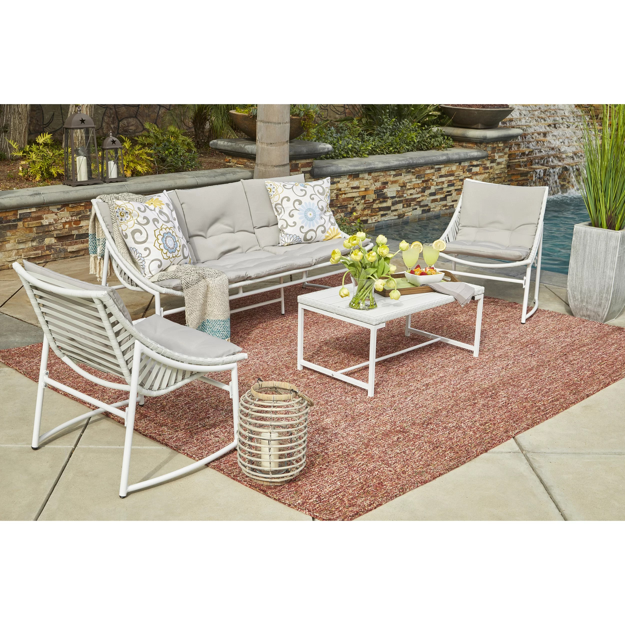 Baptist 6 Piece Rattan Sofa Set With Cushions Wrought Studio Crick 4 Piece Sofa Set With Cushions