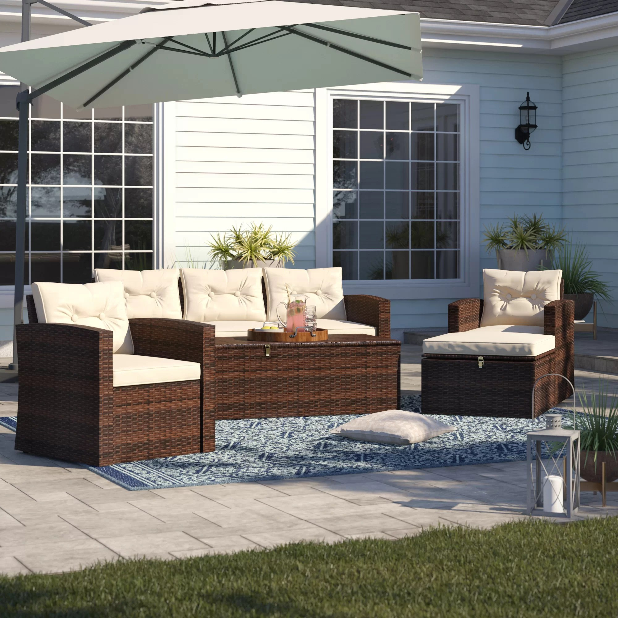 Sofa Cushions That Don't Go Flat Sol 72 Outdoor Arlington 5 Piece Sofa Set With Cushions Reviews