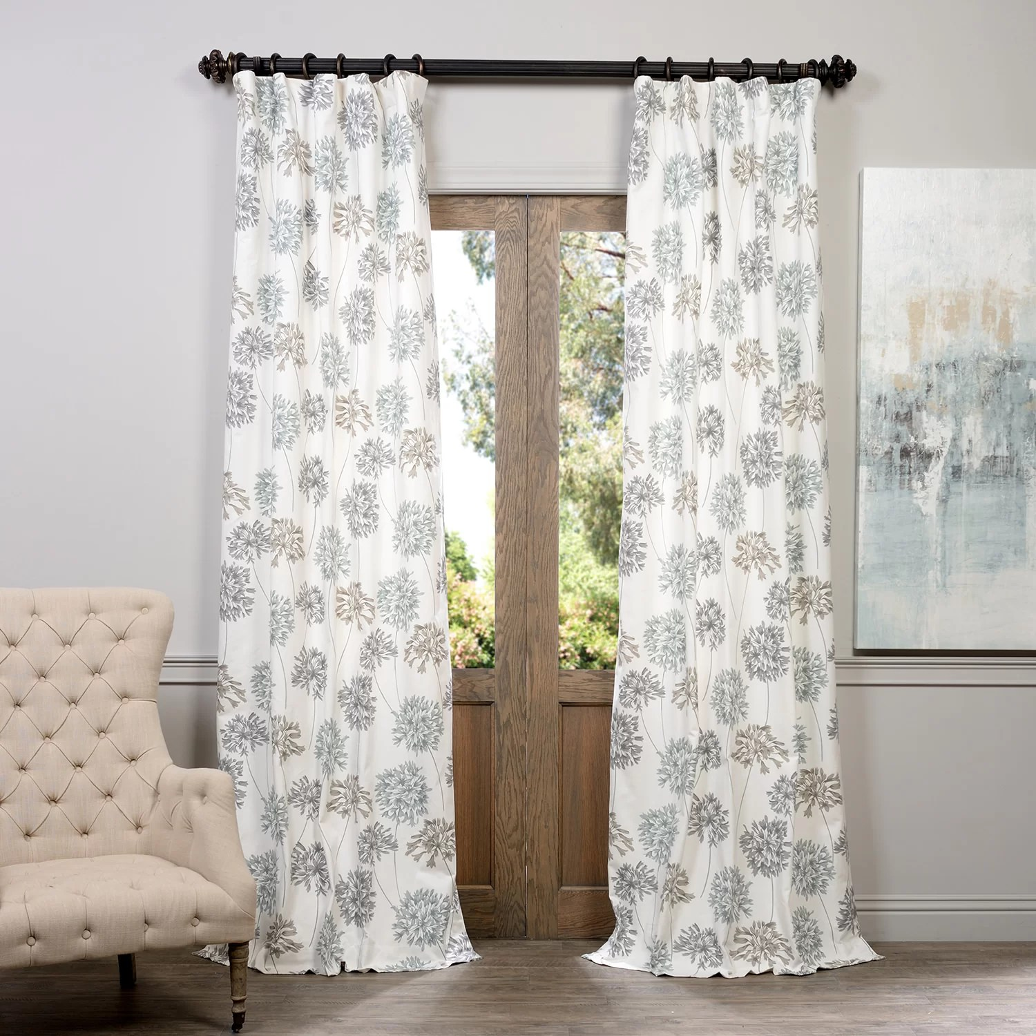 Cotton Curtain Panels Allium Printed Cotton Nature Floral Rod Pocket Single Curtain Panel