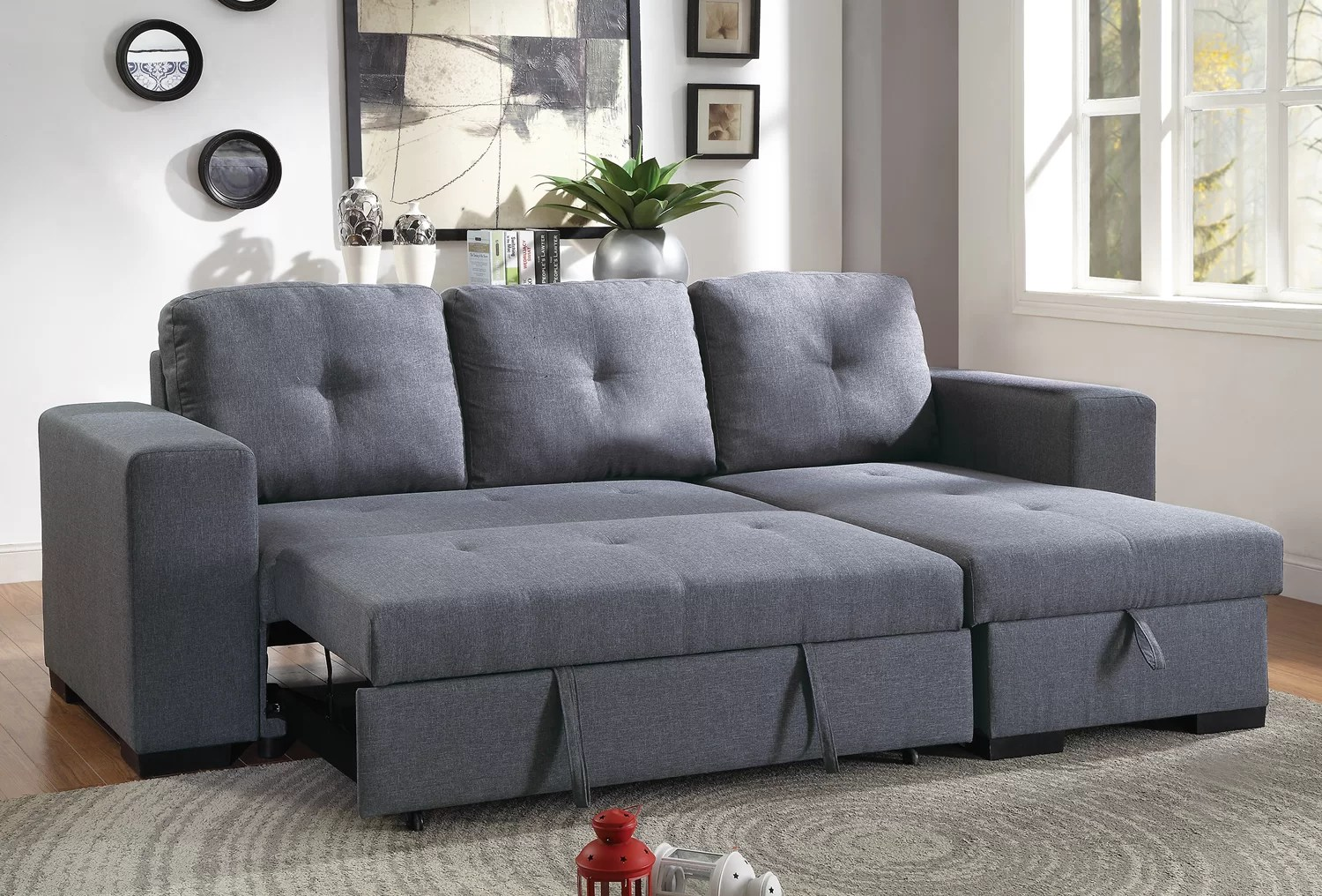 Sectional Pull Out Couch Buchman Linen Like Reversible Sectional With Pull Out Bed