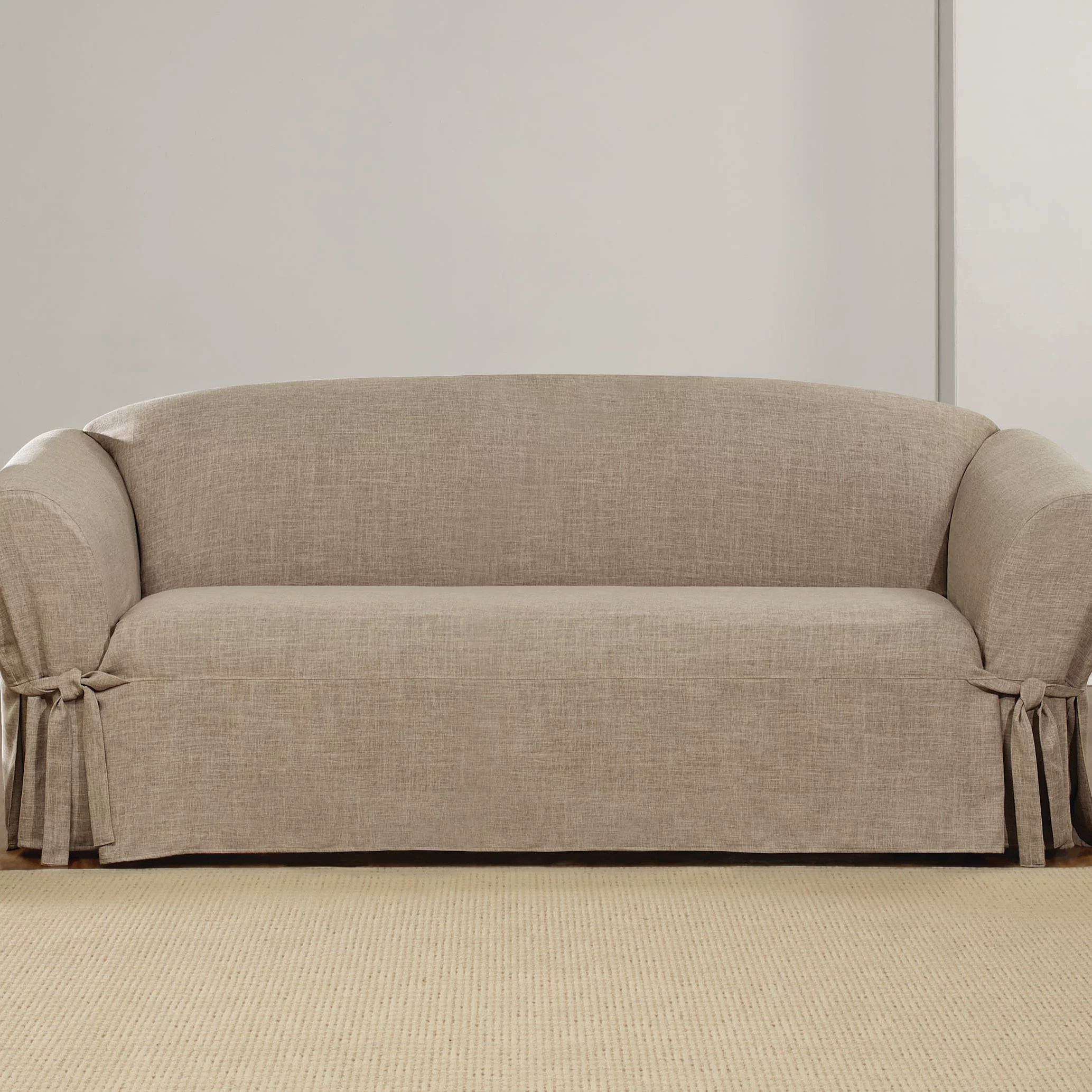 Grey Sofa Slipcover Textured Linen Box Cushion Sofa Slipcover