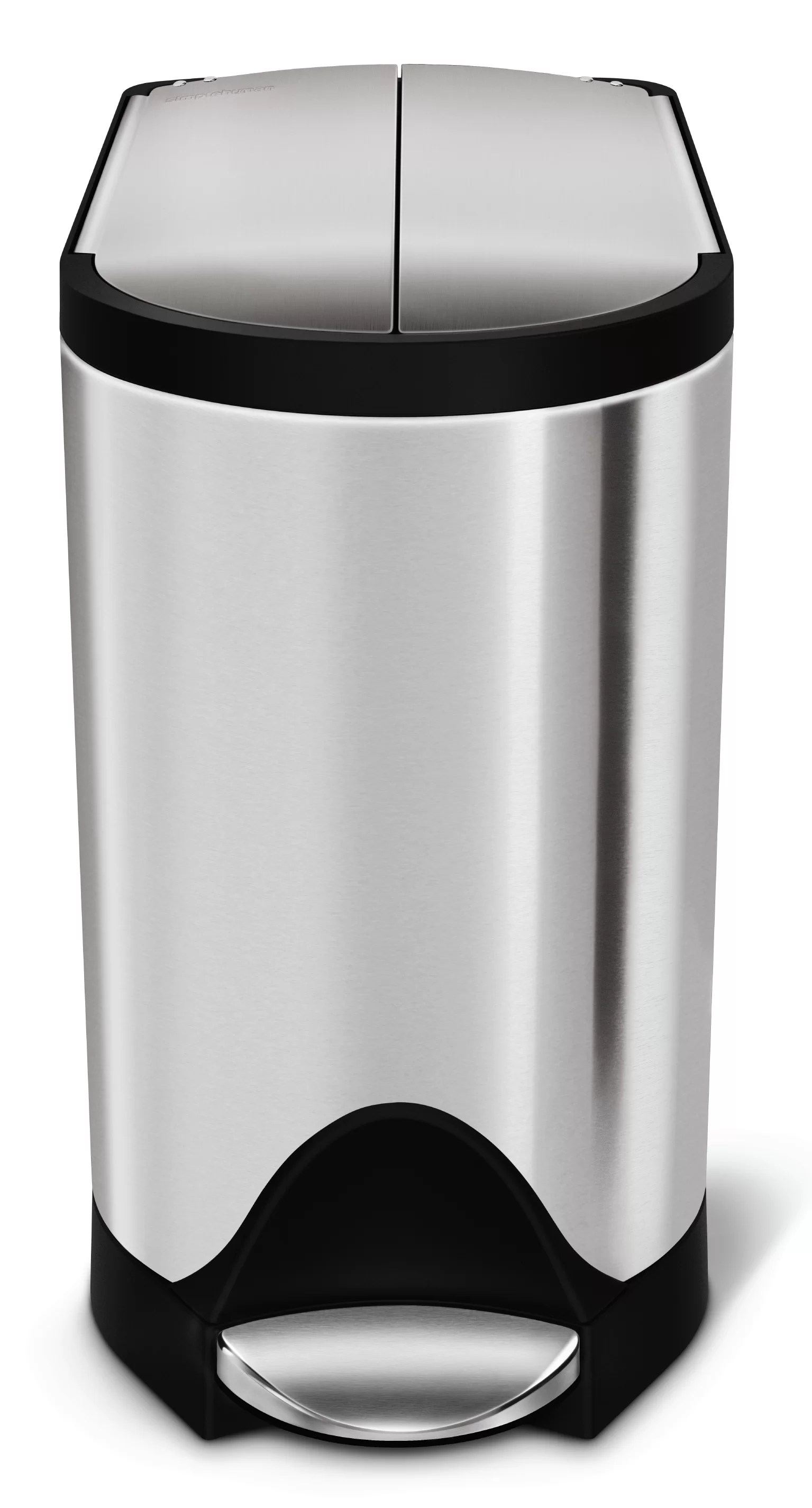 Small White Trash Can With Lid 2 6 Gallon Butterfly Step Trash Can Brushed Stainless Steel