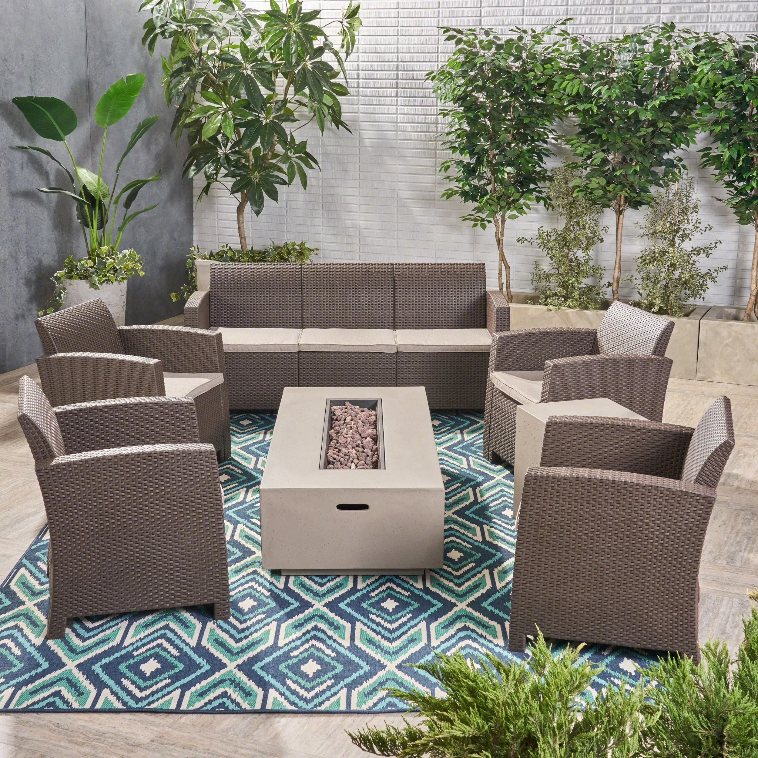 Rattan Sofa Near Me Agape 7 Piece Rattan Sofa Seating Group With Cushions