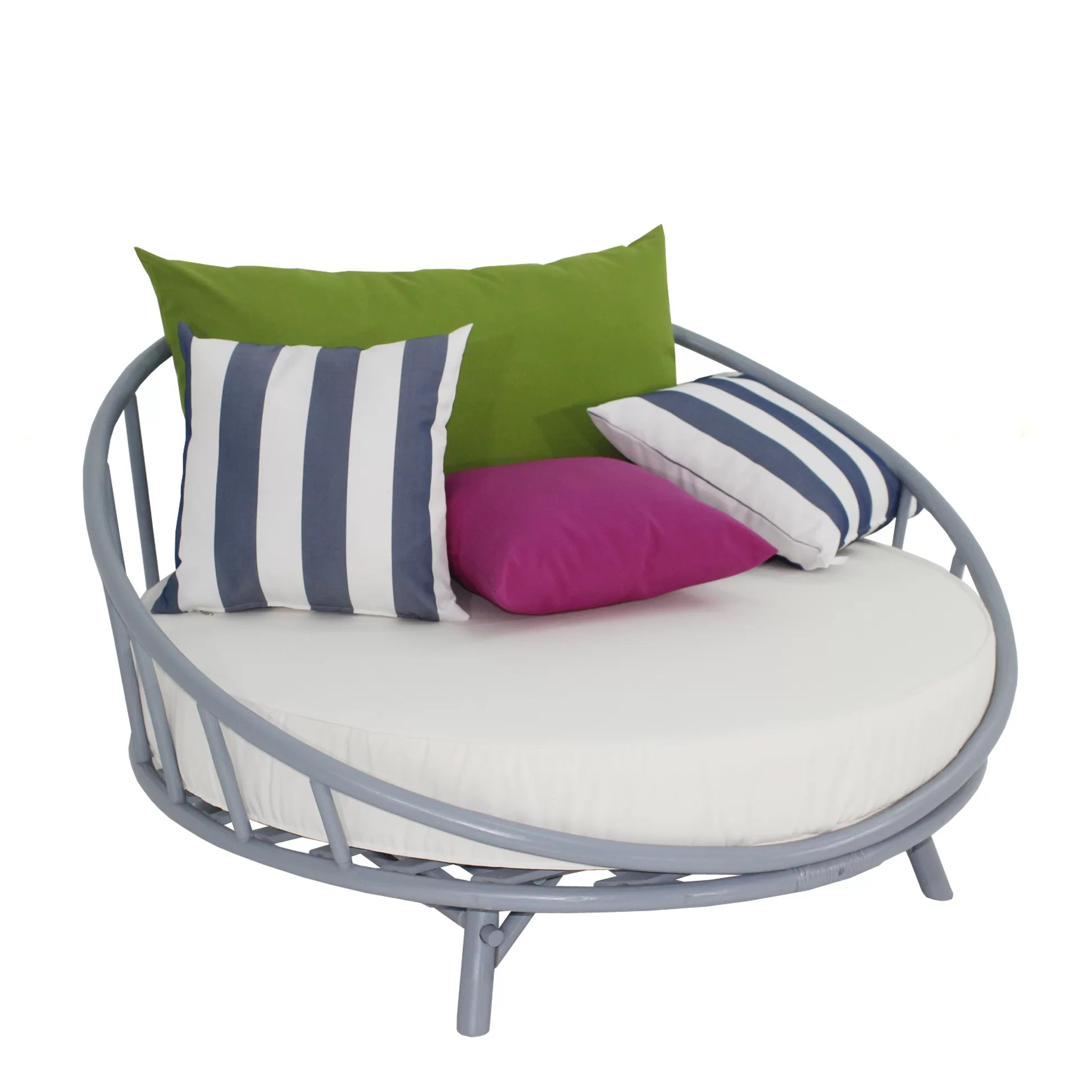 Round Patio Furniture Olu Bamboo Large Round Patio Daybed With Cushions