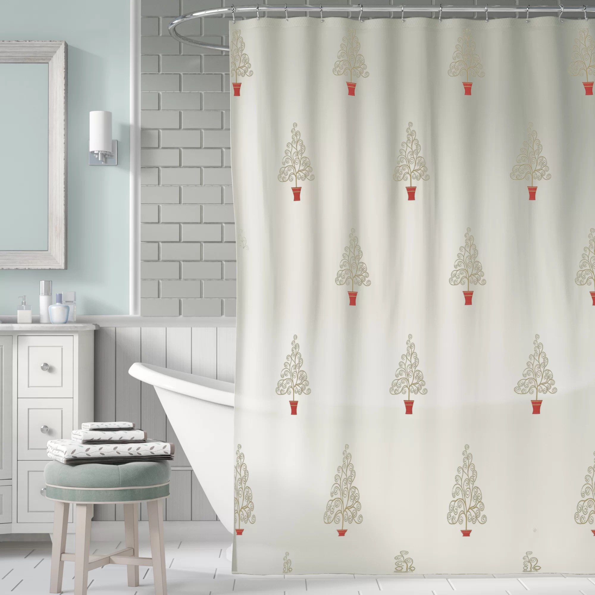 Usa Shower Curtain Filigree Forest Single Shower Curtain