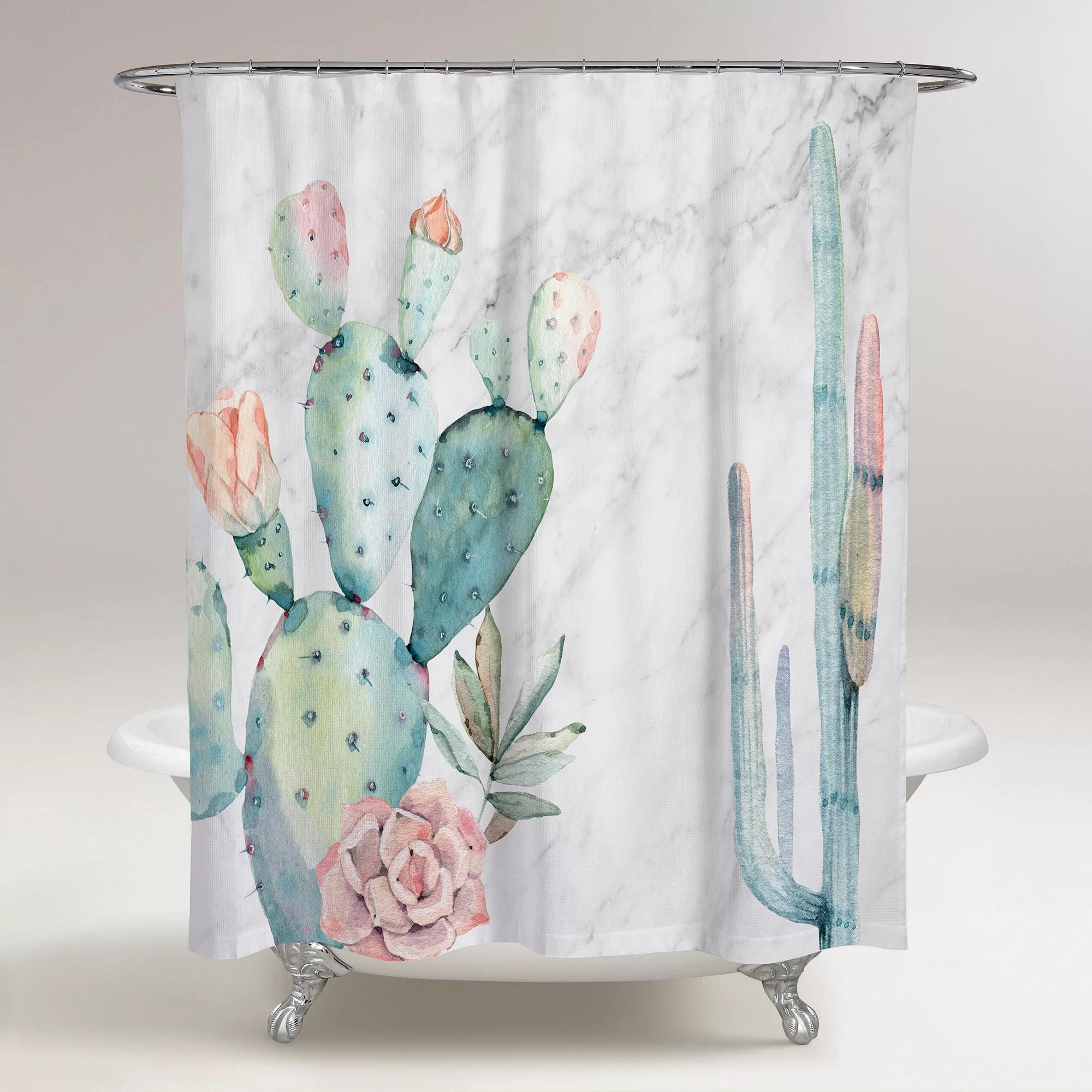 Bungalow Rose Rosen Marble And Succulents Single Shower Curtain Reviews Wayfair