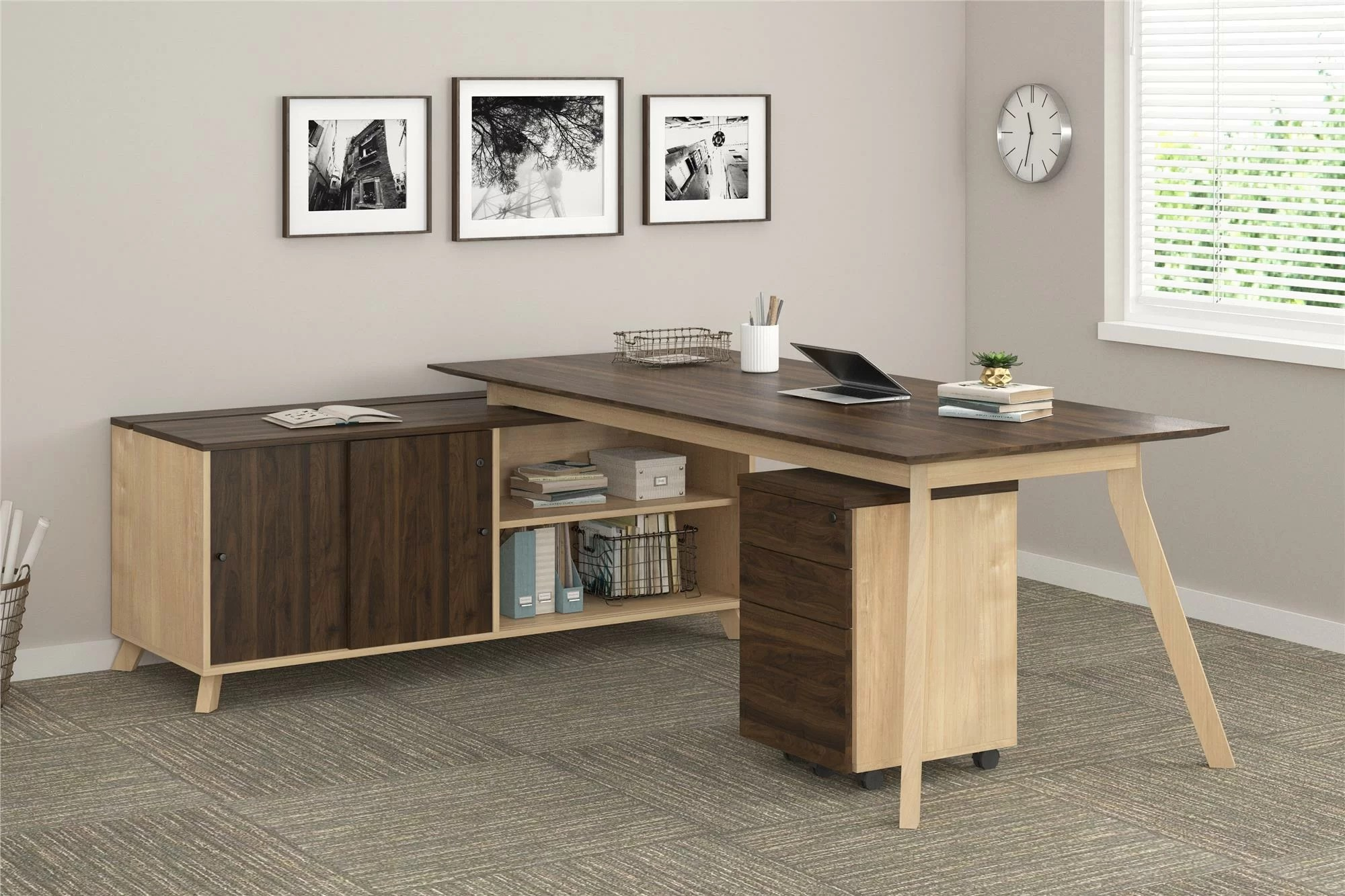 Executive L Shaped Desk Barbosa Modern Executive 2 Piece L Shape Desk Office Suite