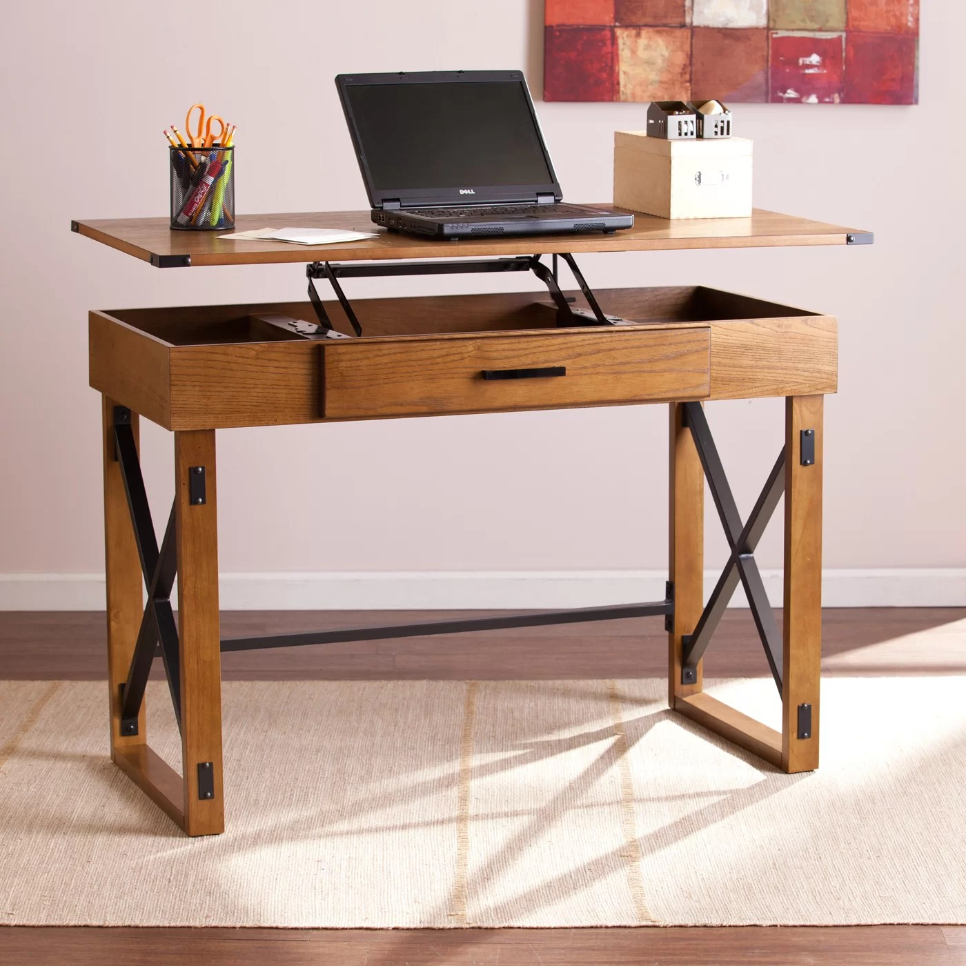 Long Wood Desk Long Beach Adjustable Calder Writing Desk