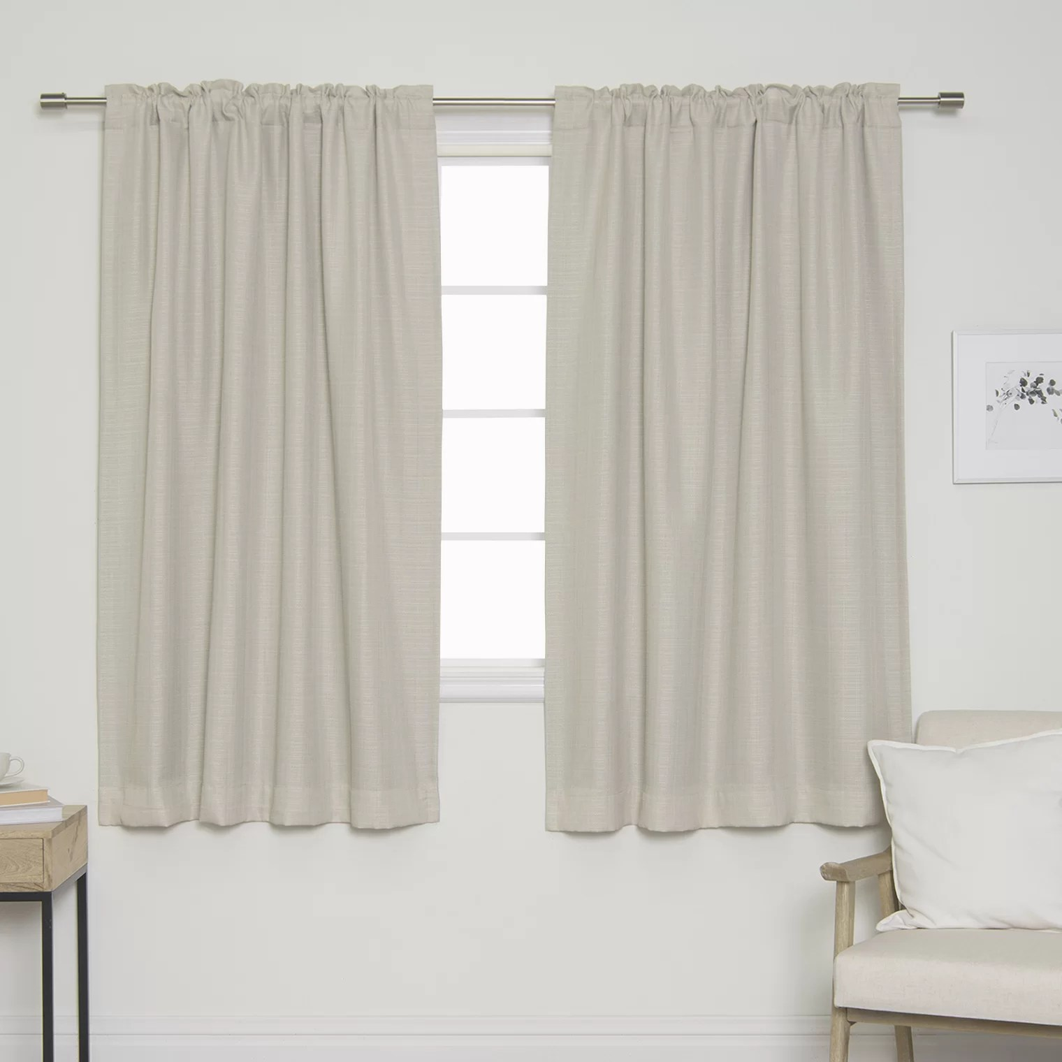 Tab Top Curtain Vivan Woven Faux Linen Solid Blackout Back Tab Top Curtain Panels