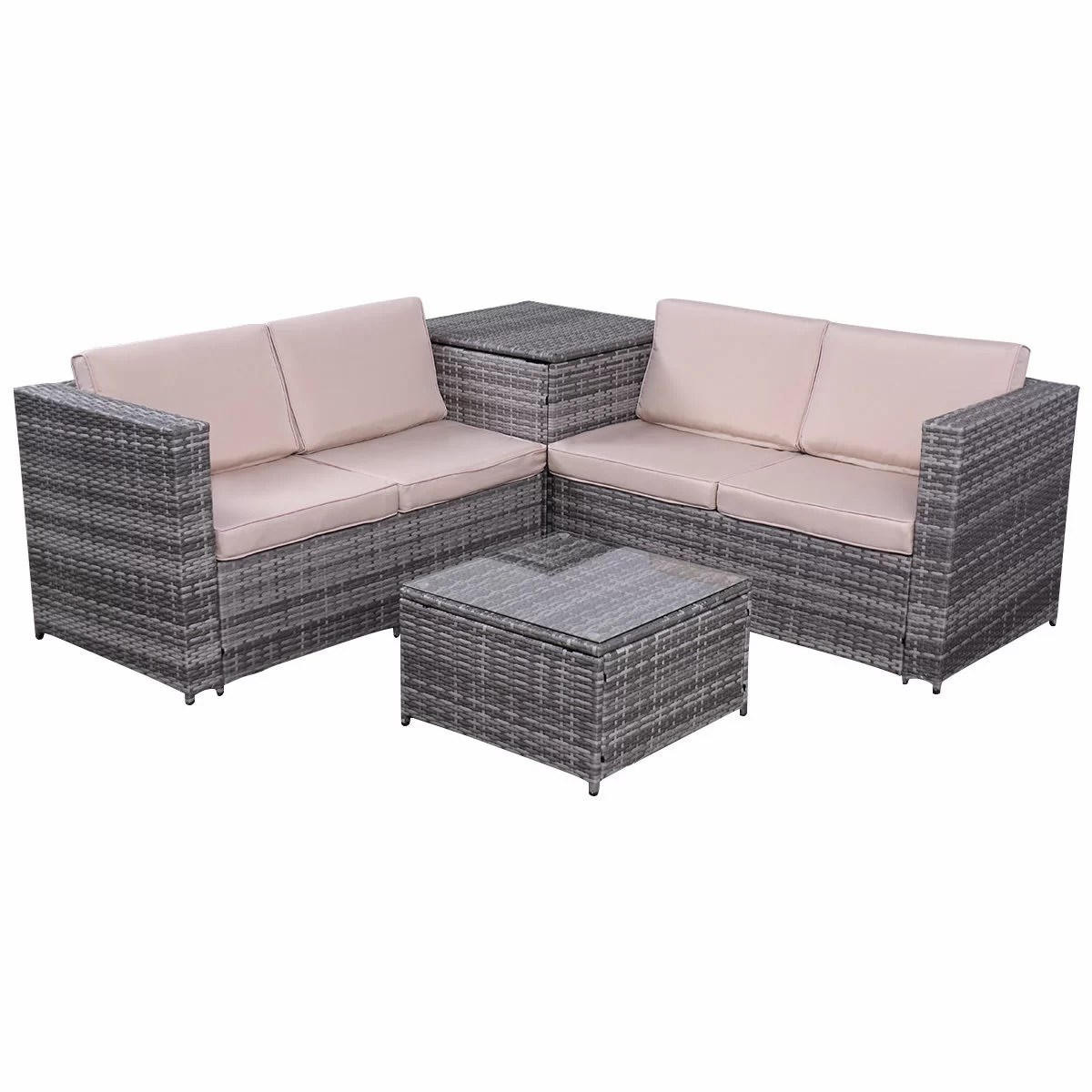 Rattan Sofa Gleeson 4 Piece Patio Rattan Sofa Seating Group With Cushions