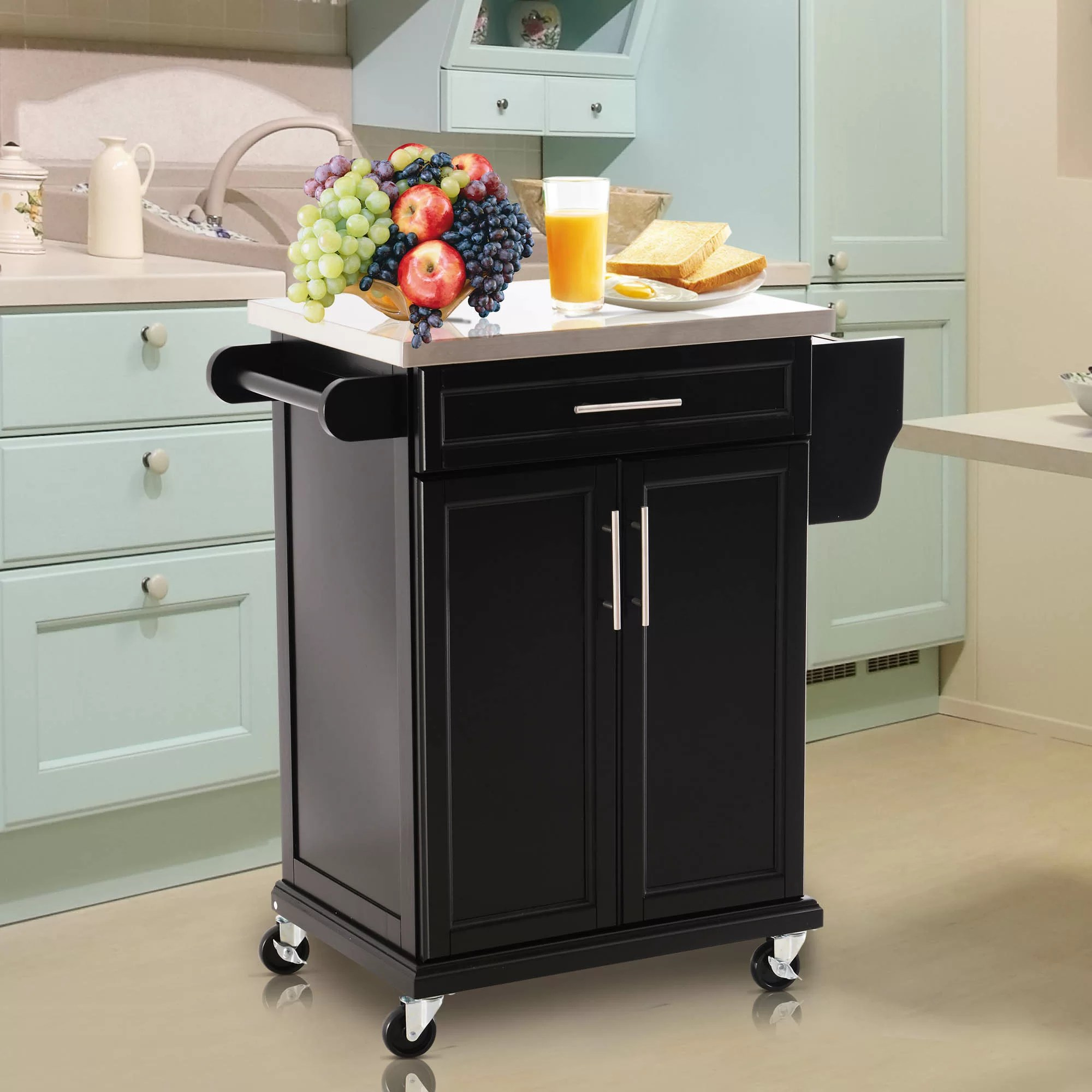 Ebern Designs Taunton Rolling Kitchen Island With Stainless Steel Top Reviews Wayfair Ca - Garden Furniture Clearance Taunton