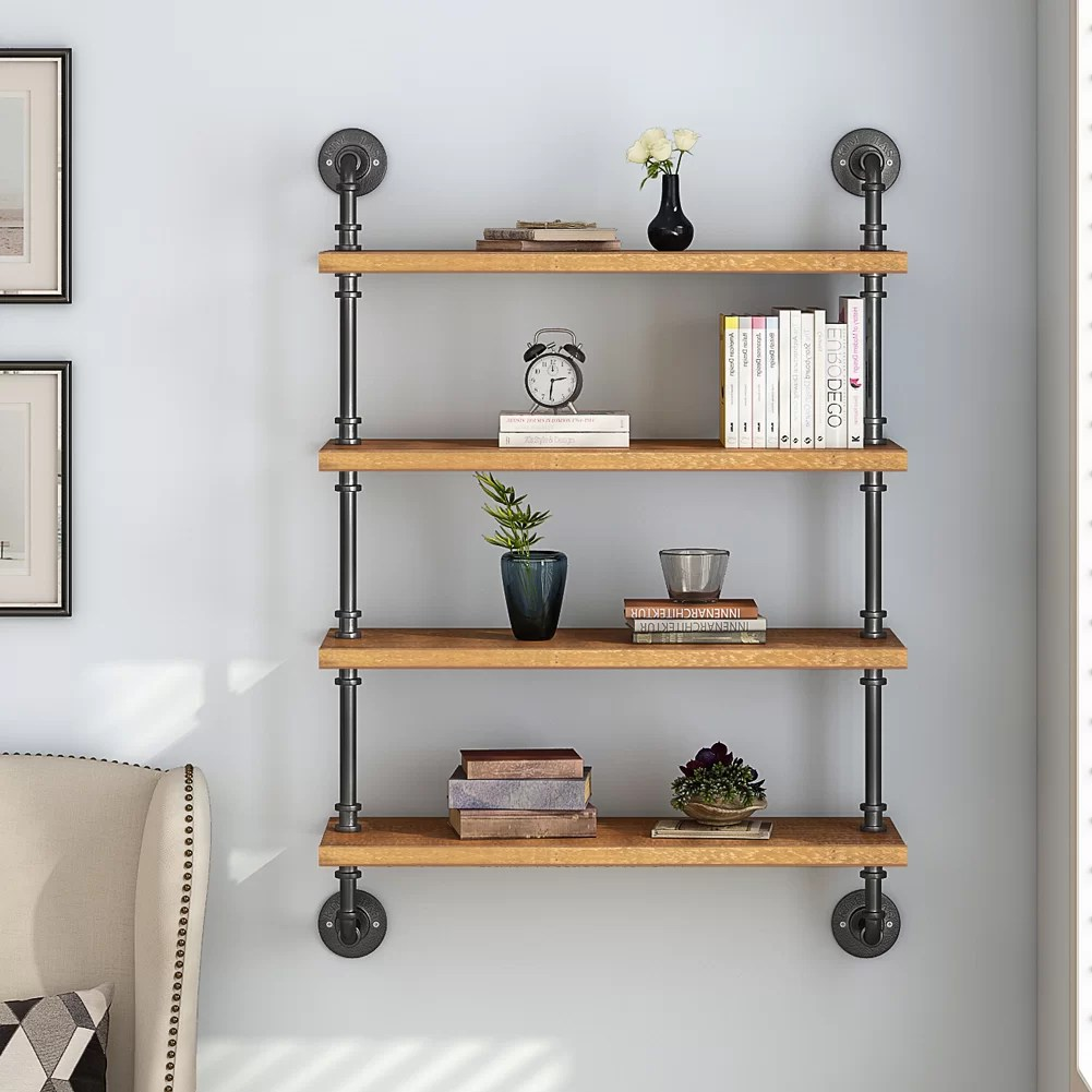 Wall Shelf Design Adam 4 Tier Industrial Pipe Wall Shelf