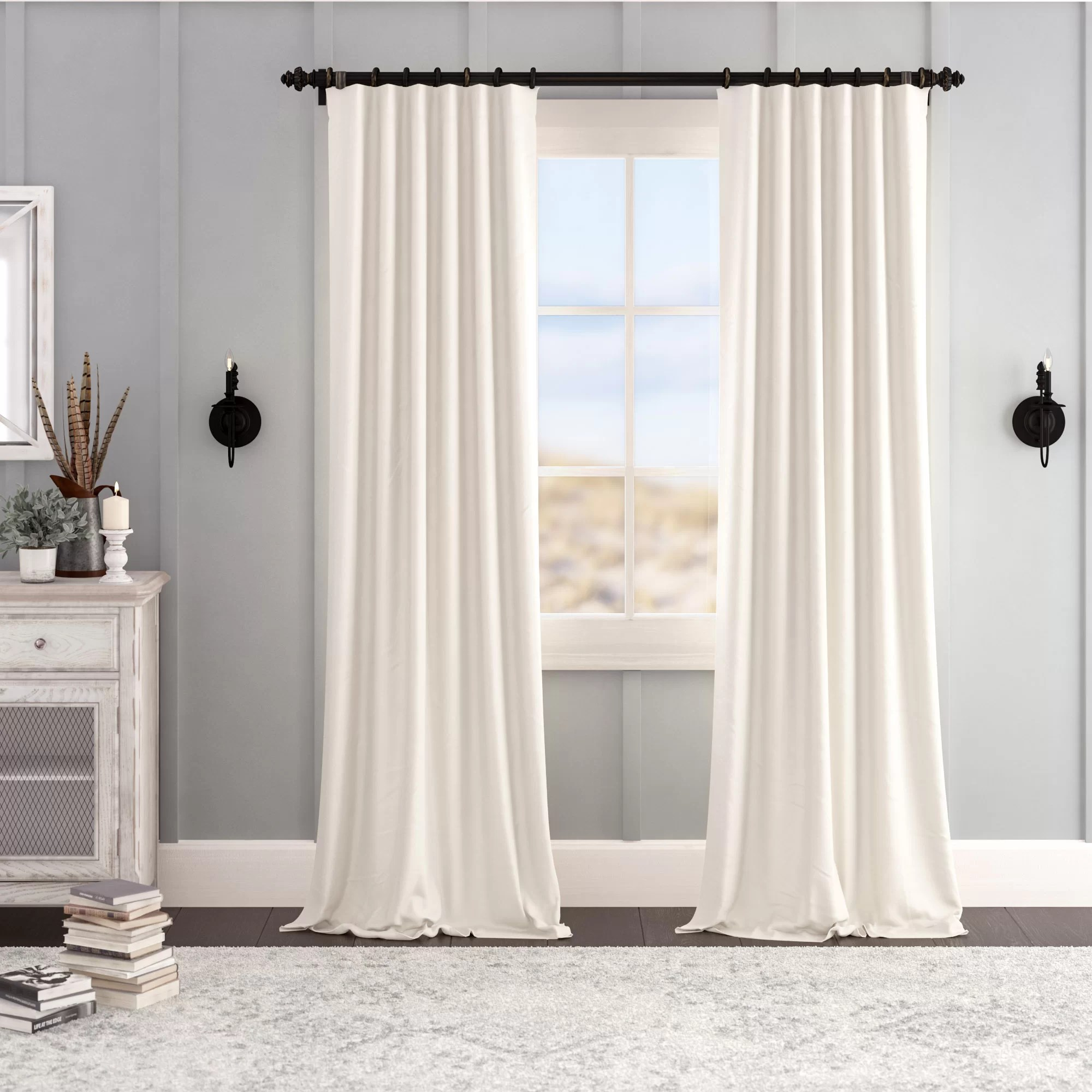 Grey Thermal Curtains Albert Velvet Solid Blackout Thermal Rod Pocket Single Curtain Panel
