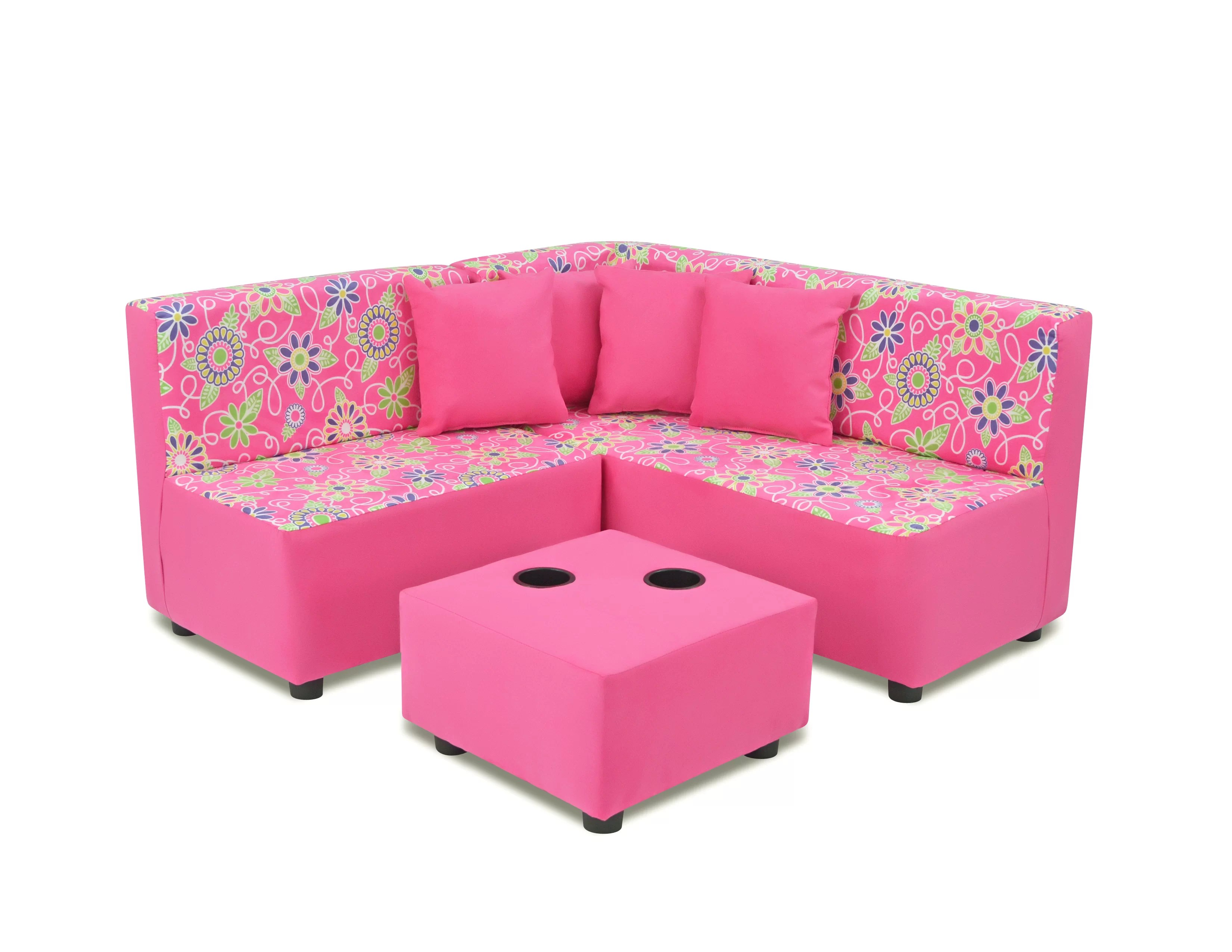 Sofa Set Action Neilsen Kids Microfiber Sofa Ottoman With Cup Holder