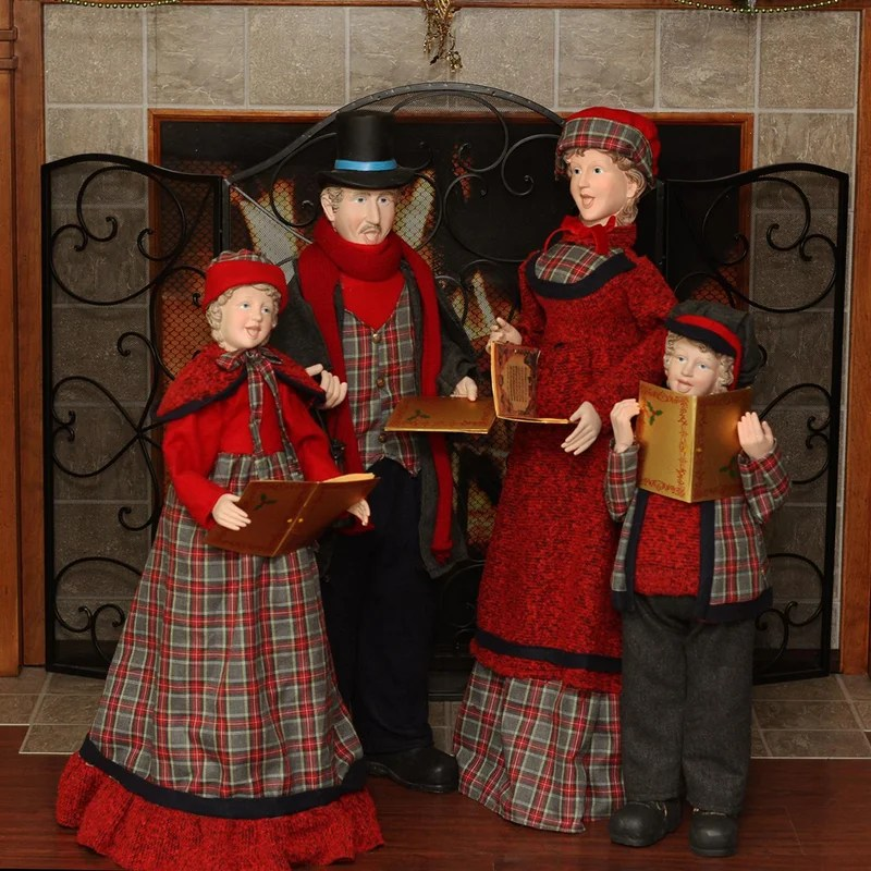 Northlight Victorian Red and Green Plaid Caroler Family Christmas - christmas carolers decorations