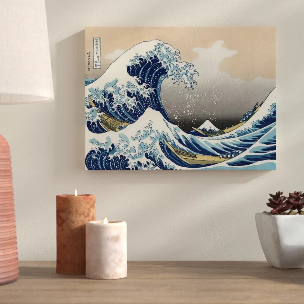 Printing Canvas The Great Wave Off Kanagawa Graphic Art Print On Wrapped Canvas