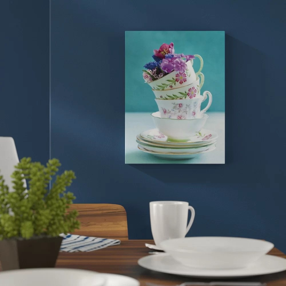 Fotodruck Poster Poster Pretty Cups And Flowers Fotodruck
