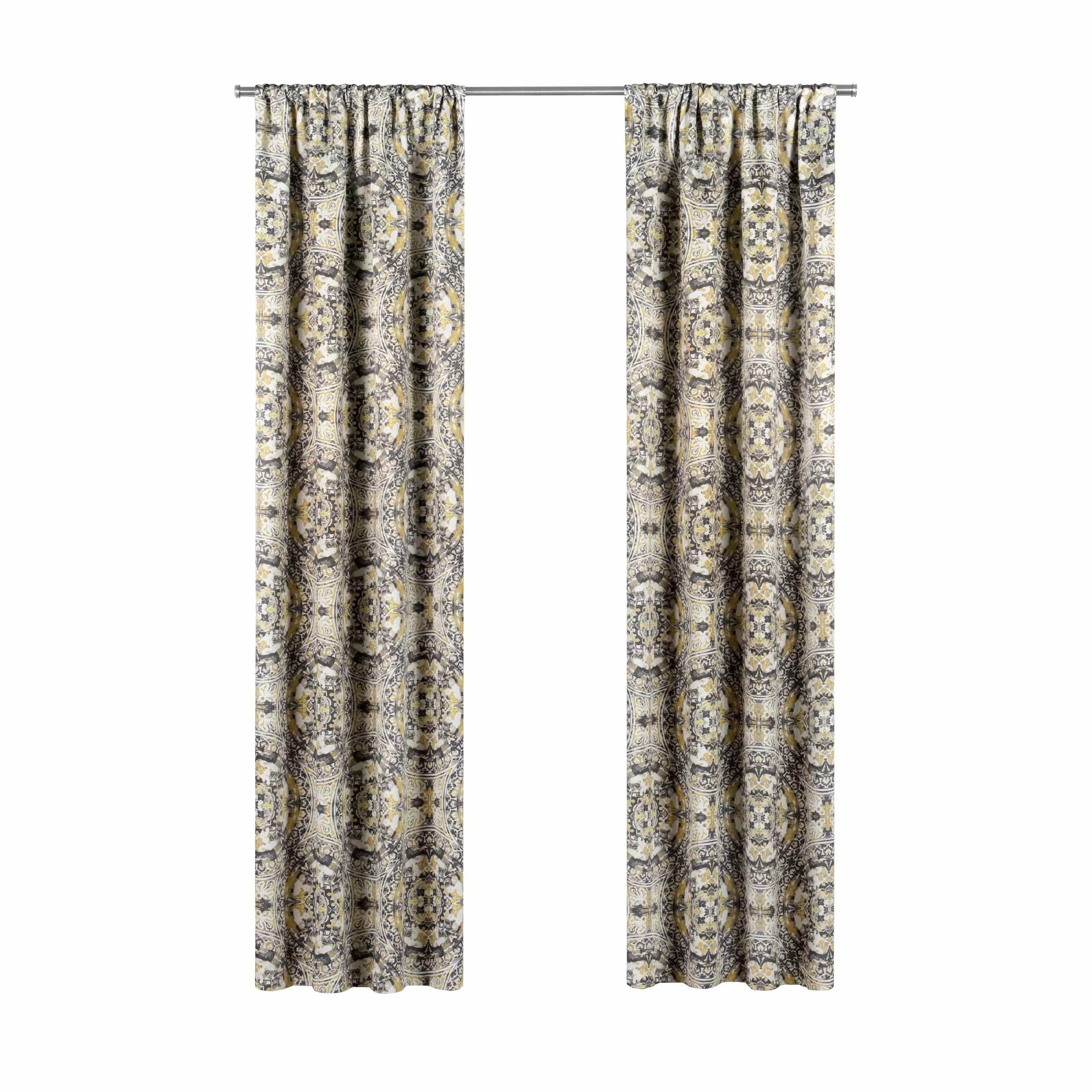 94 Inch Blackout Curtains Elena Geometric Blackout Rod Pocket Single Curtain Panel