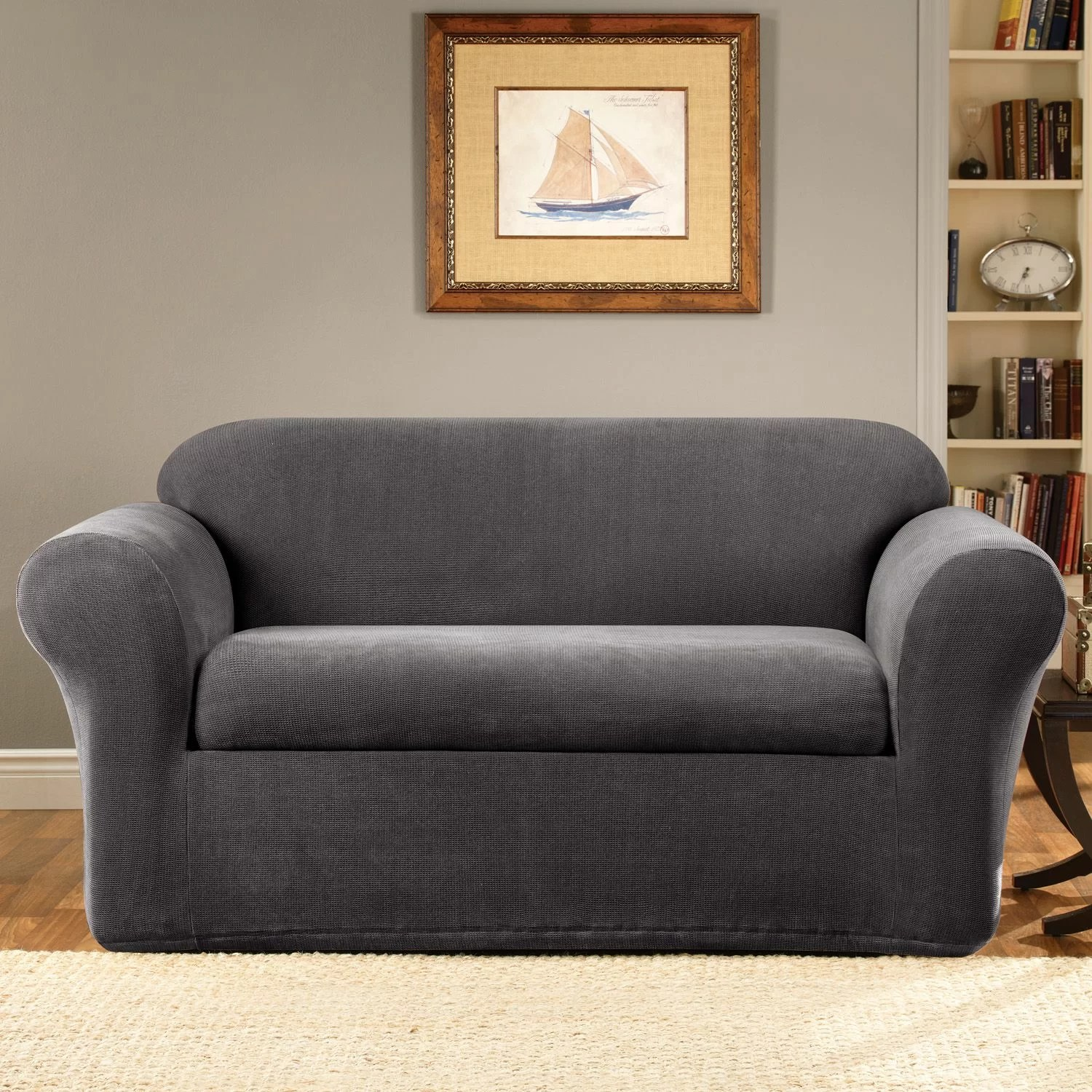 Grey Sofa Slipcover Stretch Metro Box Cushion Sofa Slipcover