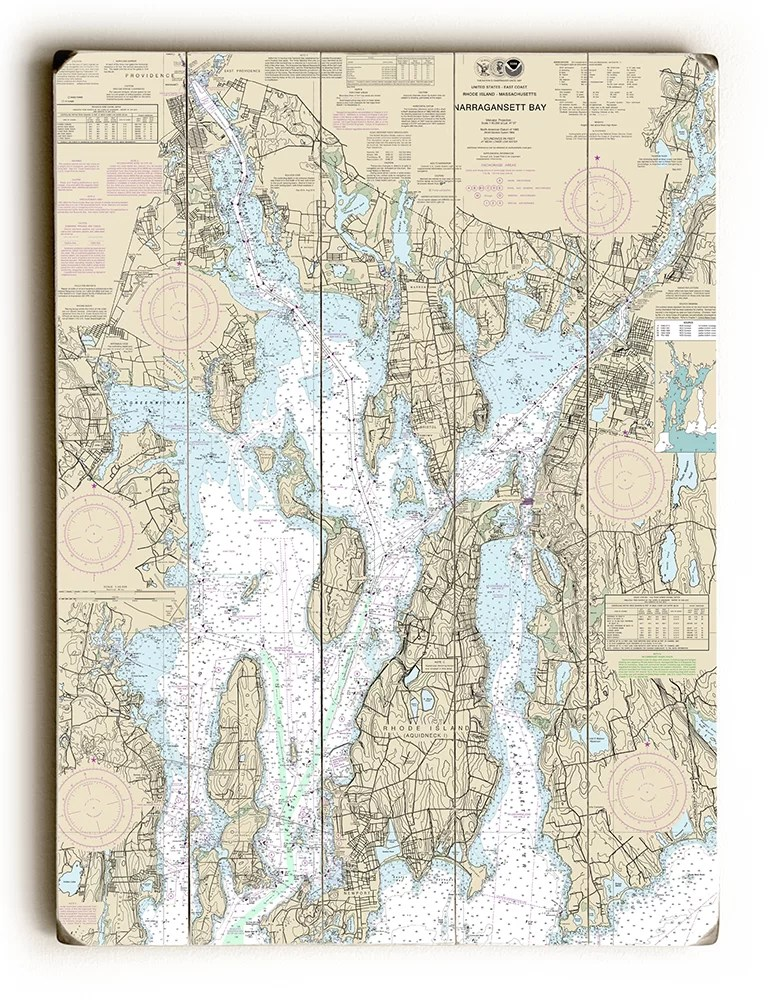 Longshore Tides \u0027RI Narragansett Bay, RI Nautical Chart Sign