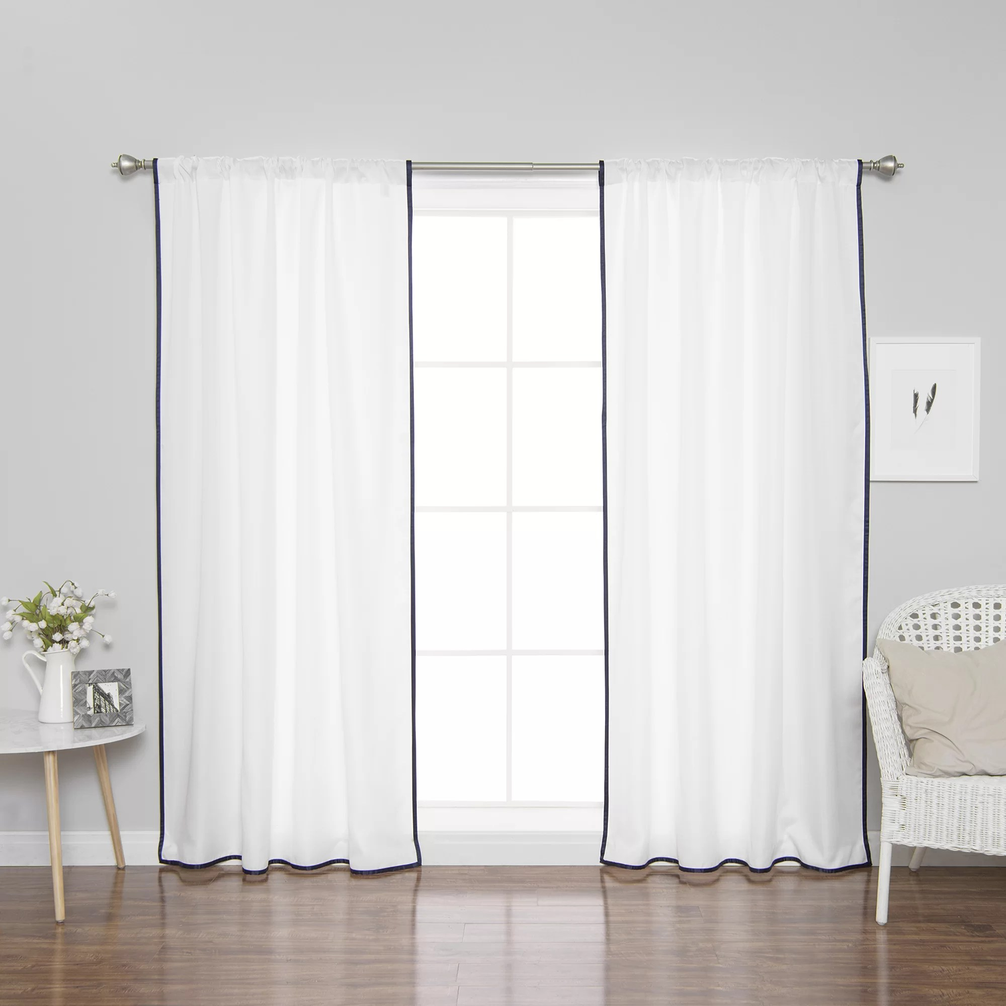 Tab Top Curtain Elick Thin Border Polyester Solid Semi Sheer Tab Top Curtain Panels