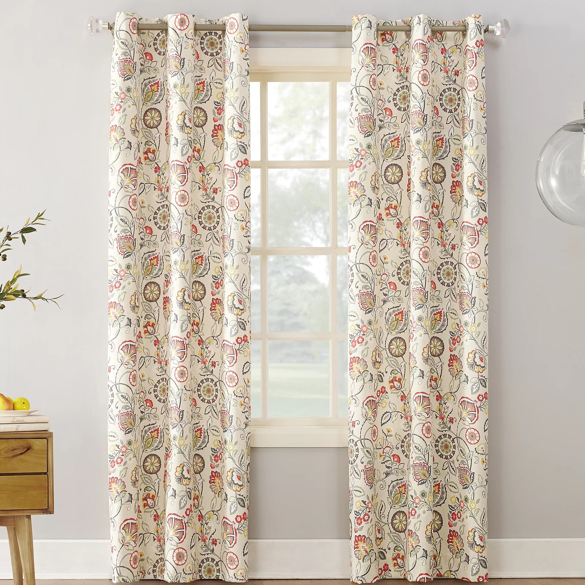 Thermal Patio Door Curtains With Grommets Jorah Botanical Thermal Room Darkening Grommet Single Curtain Panel