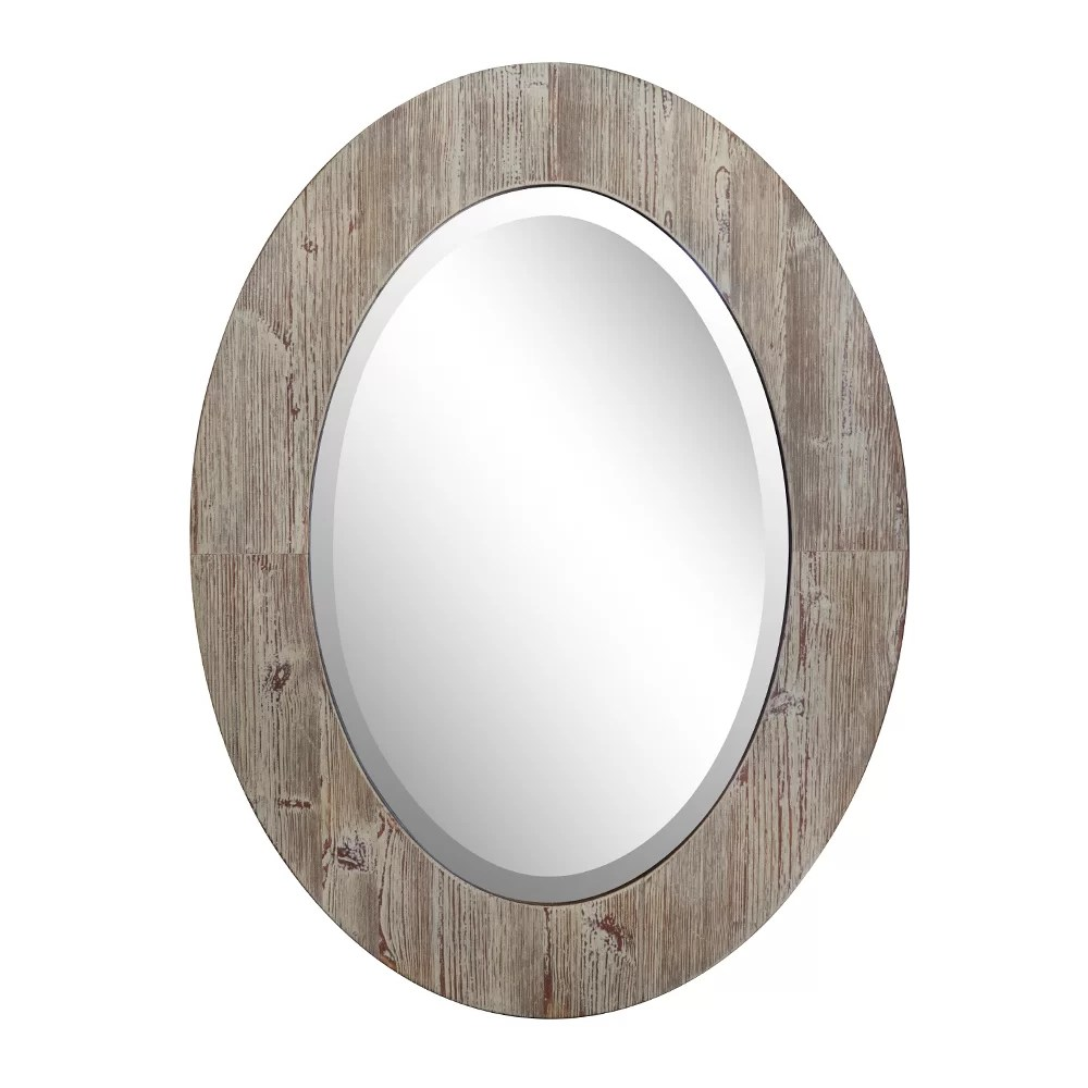 Oval Mirror Wood Frame Schaff Oval Wood Grain Frame Accent Mirror
