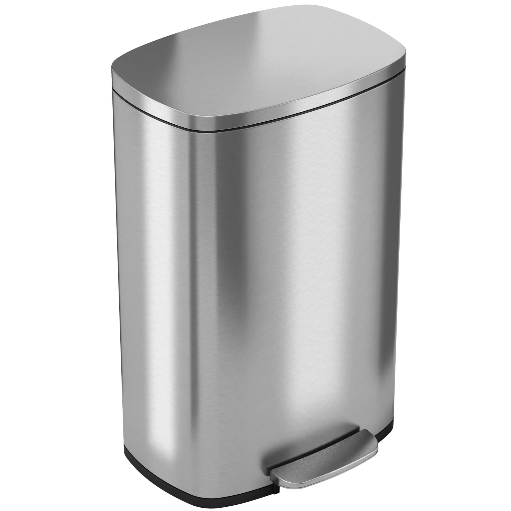 Elegant Trash Can Soft Step Stainless Steel 13 Gallon Step On Trash Can