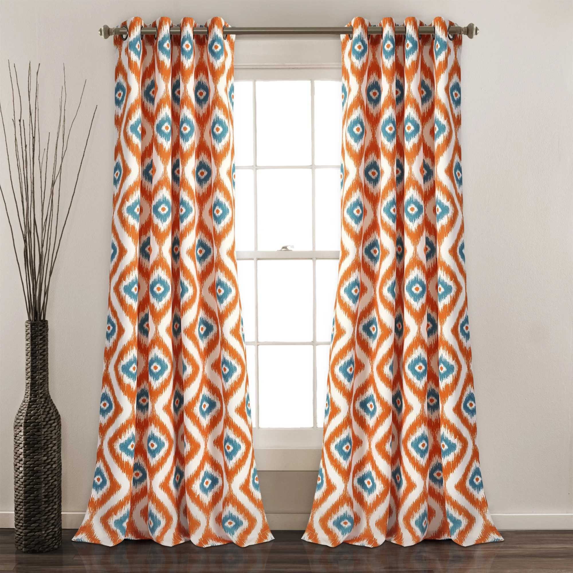 Orange Curtain Panels Castleton Ikat Room Darkening Grommet Curtain Panels